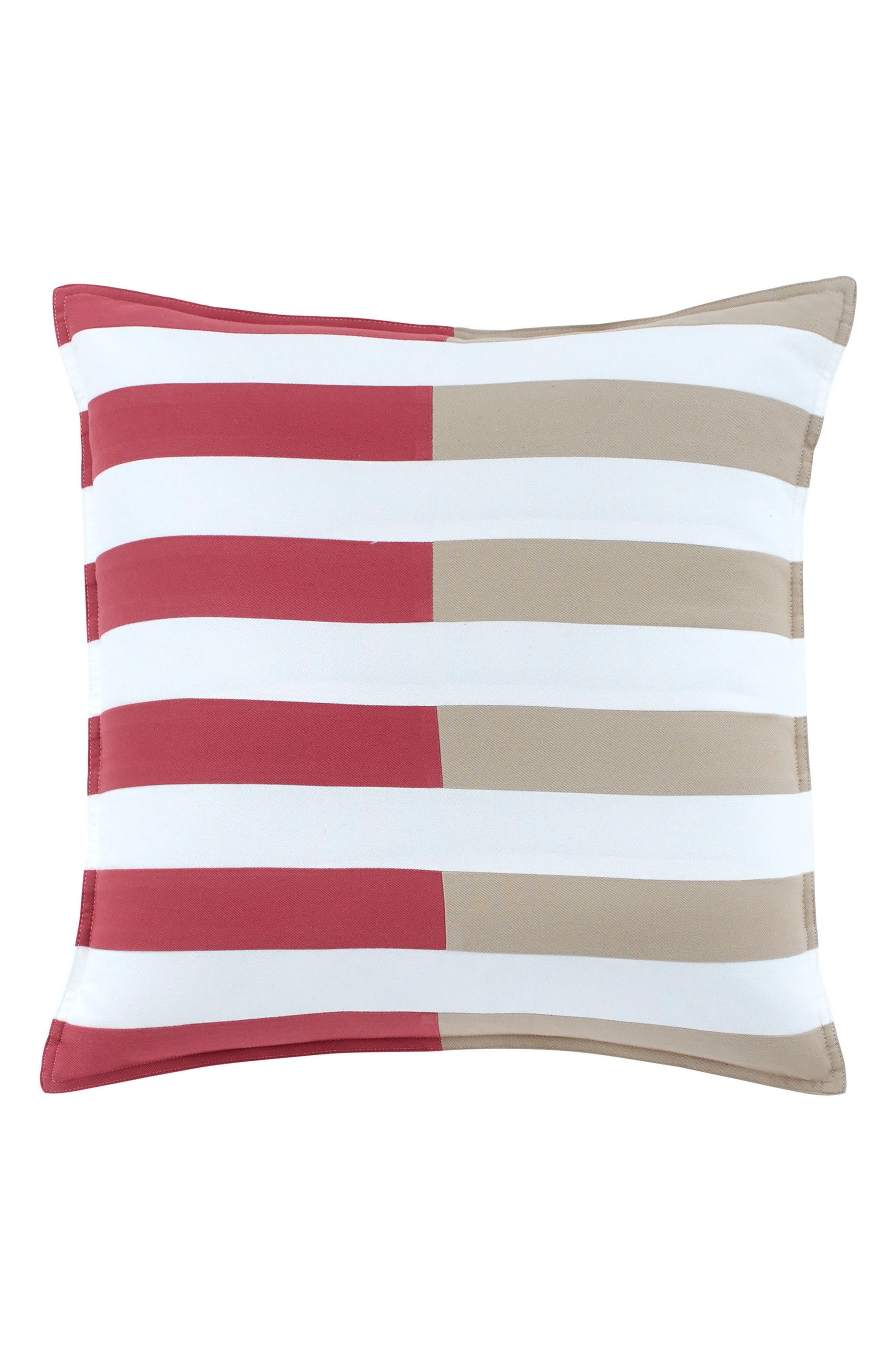 Skipjack Chino Pieced Accent Pillow,                         Main,                         color, Charleston Red/ Humus/ White