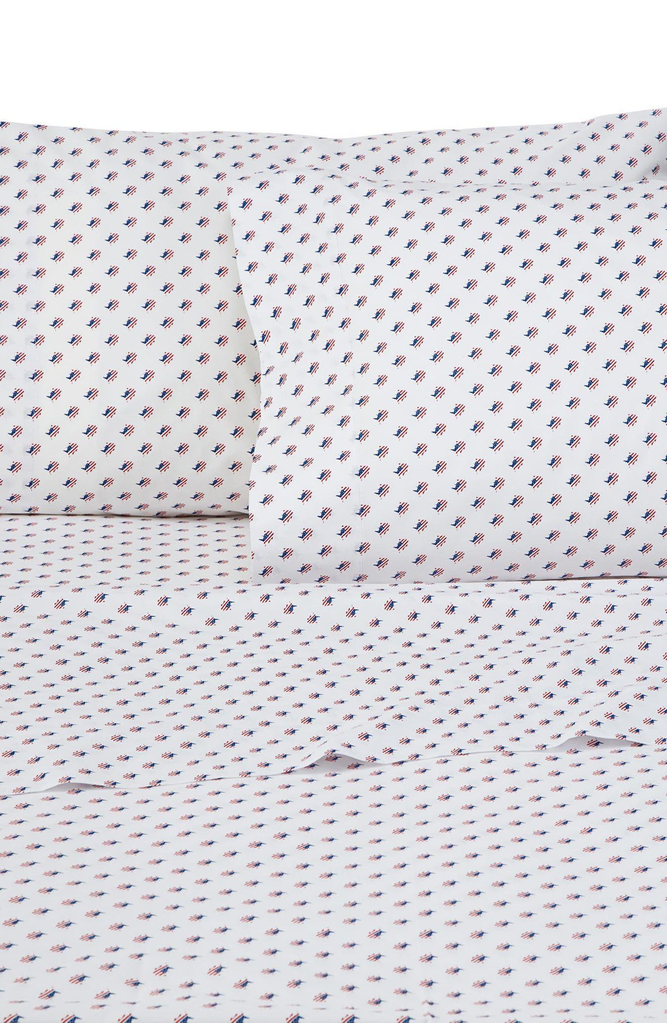 Americana Skipjack Pillowcases,                         Main,                         color, White