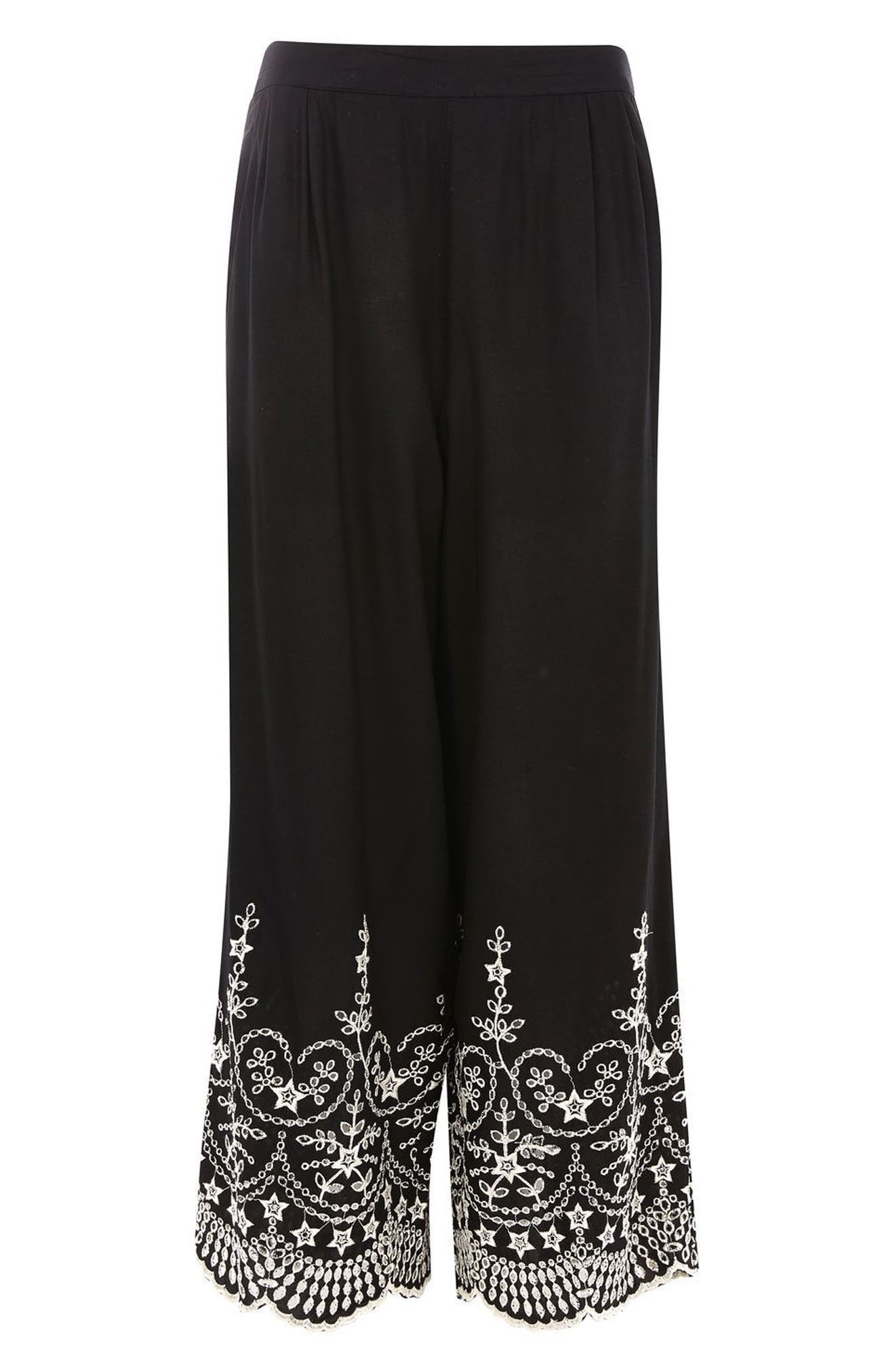 Alternate Image 4  - Topshop Embroidered Leg Trousers