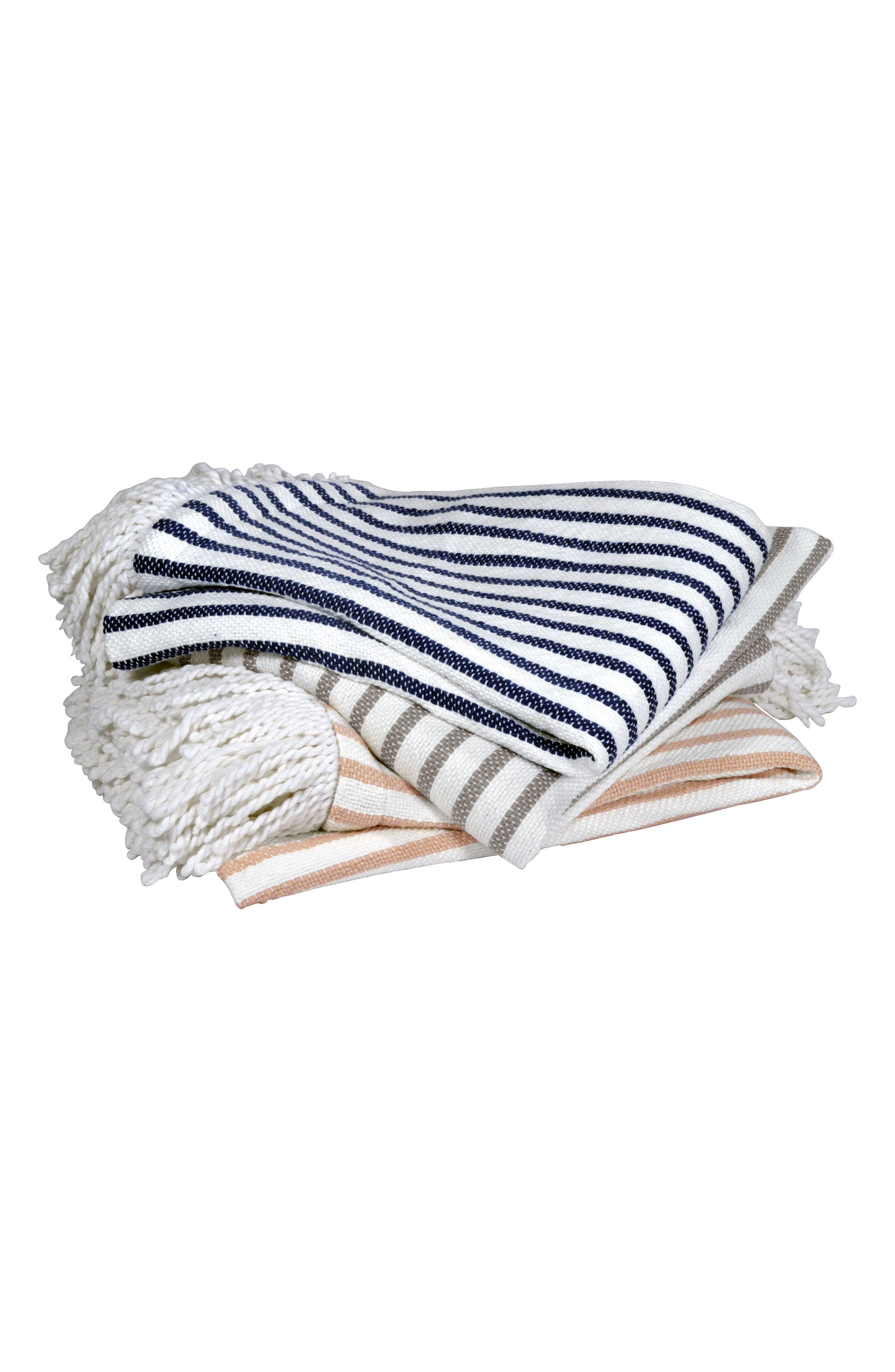Fringe Throw Blanket,                             Alternate thumbnail 2, color,                             Navy/ White