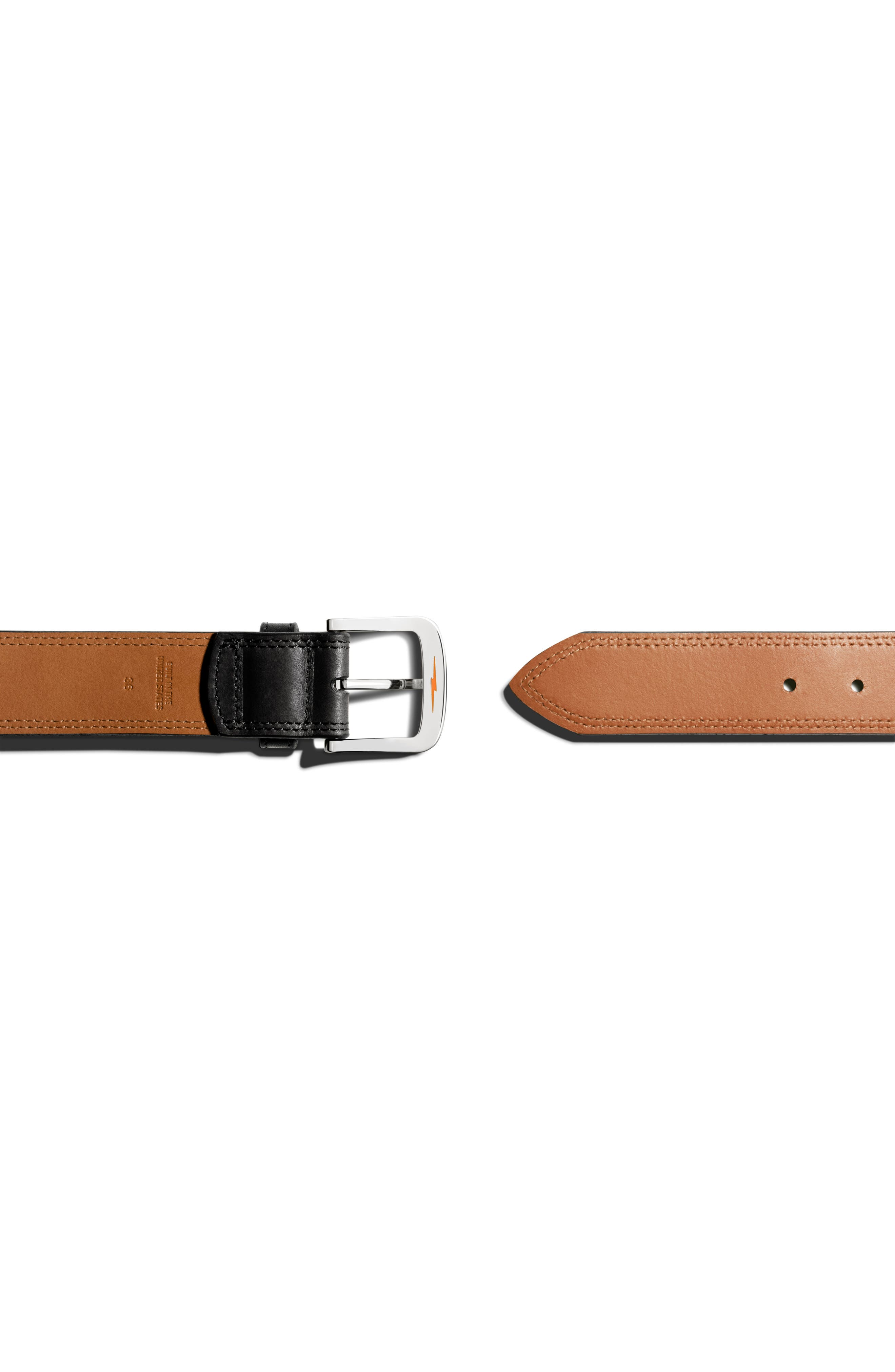 Double Stitch Leather Belt,                             Alternate thumbnail 3, color,                             Black