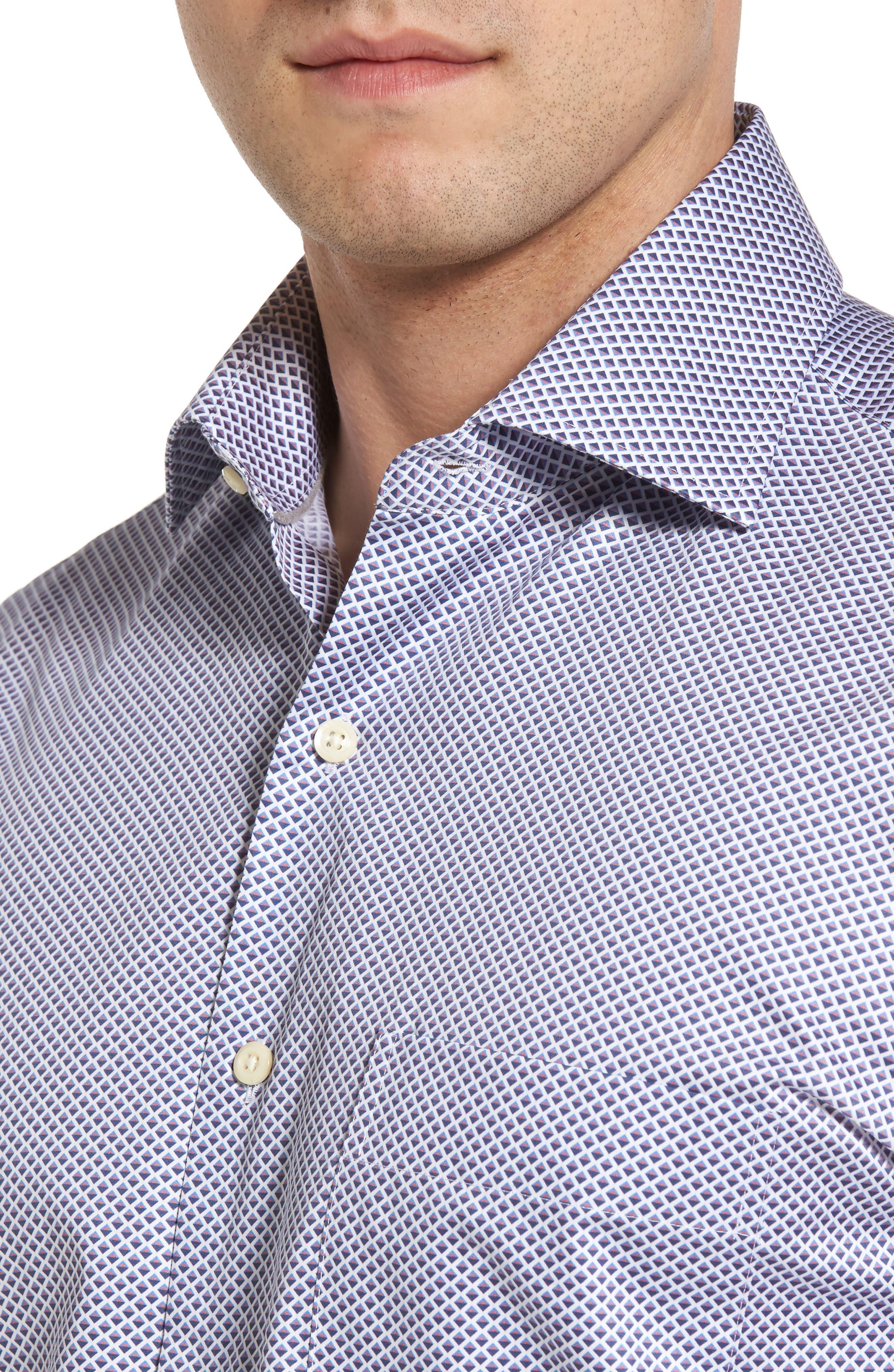 Geometric Horizon Sport Shirt,                             Alternate thumbnail 4, color,                             Fire Thorn