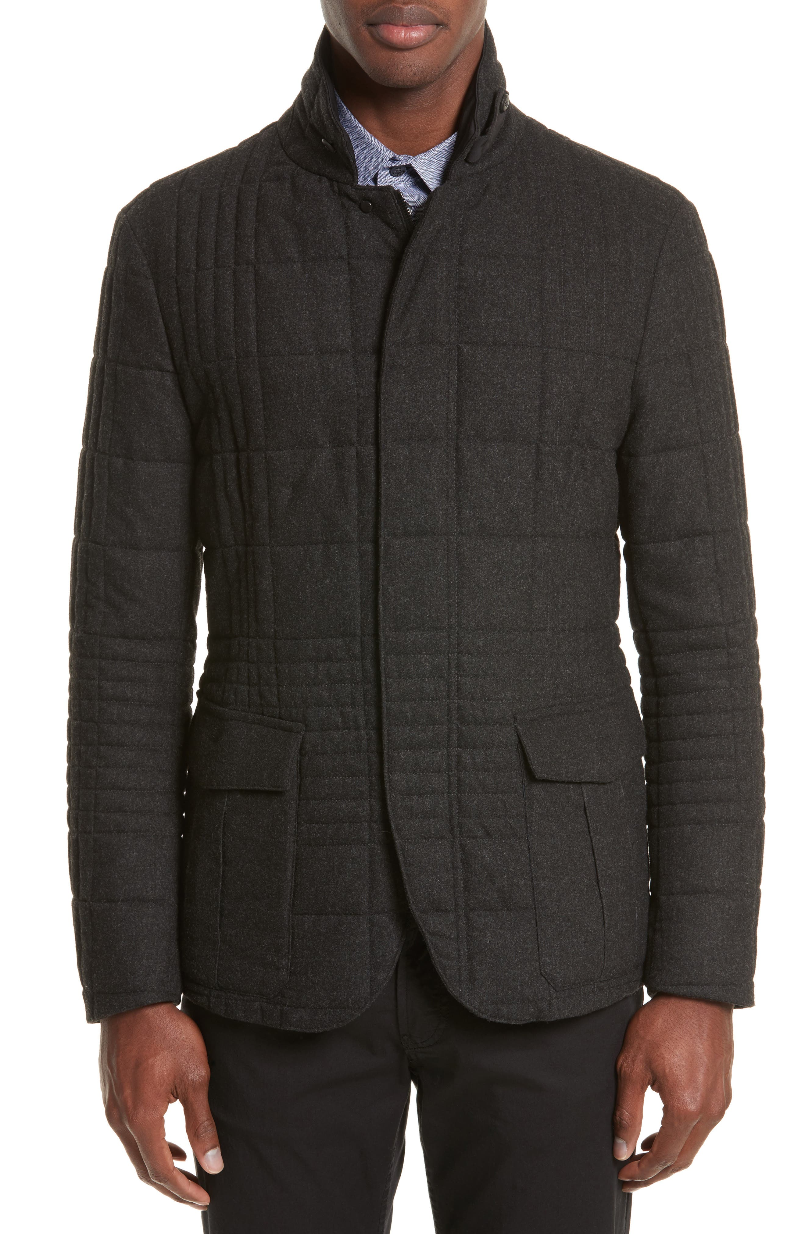 Quilted Field Jacket,                         Main,                         color, Grey