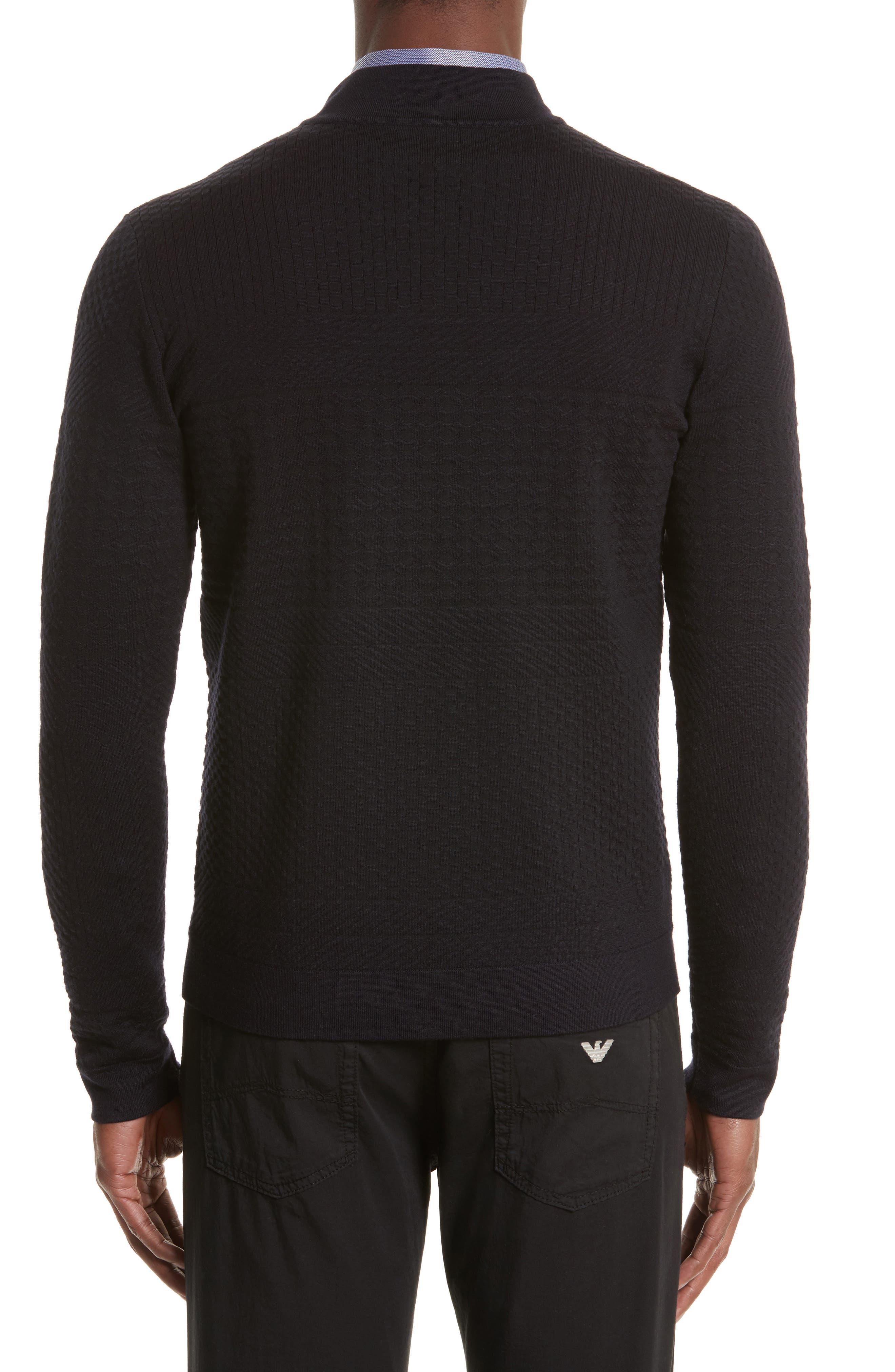 Alternate Image 2  - Armani Collezioni Full Zip Jacquard Sweater