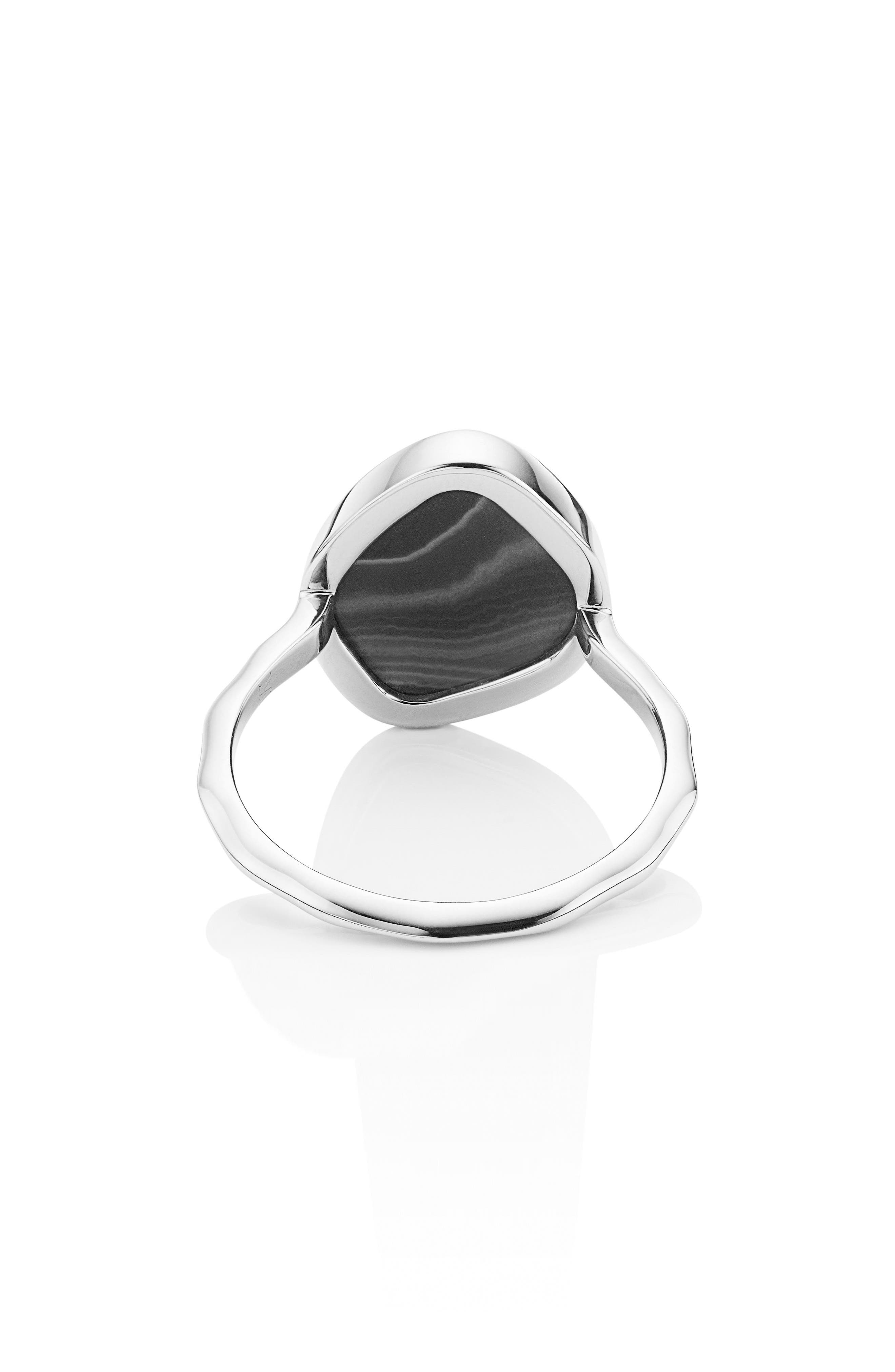 Siren Nugget Semiprecious Stacking Ring,                             Alternate thumbnail 4, color,                             Silver/ Black Line Onyx