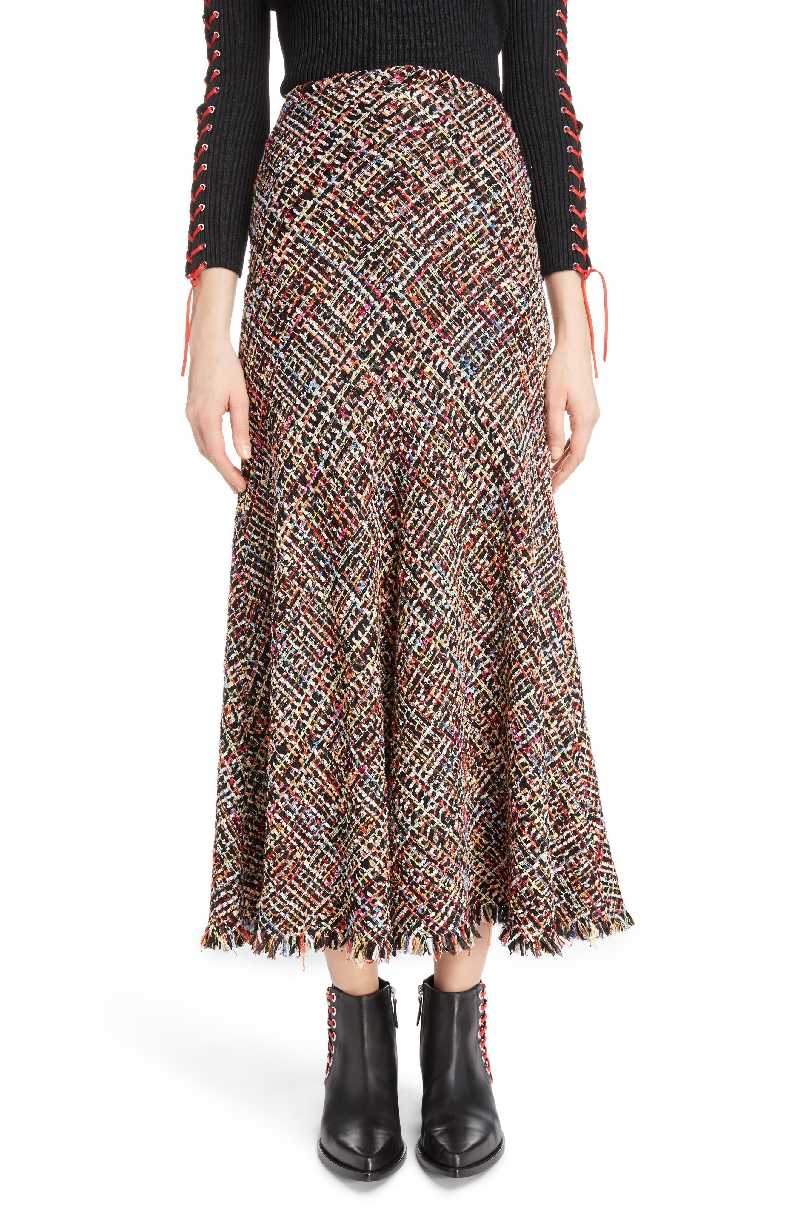 Wishing Tree Tweed Skirt,                             Main thumbnail 1, color,                             Black Mix