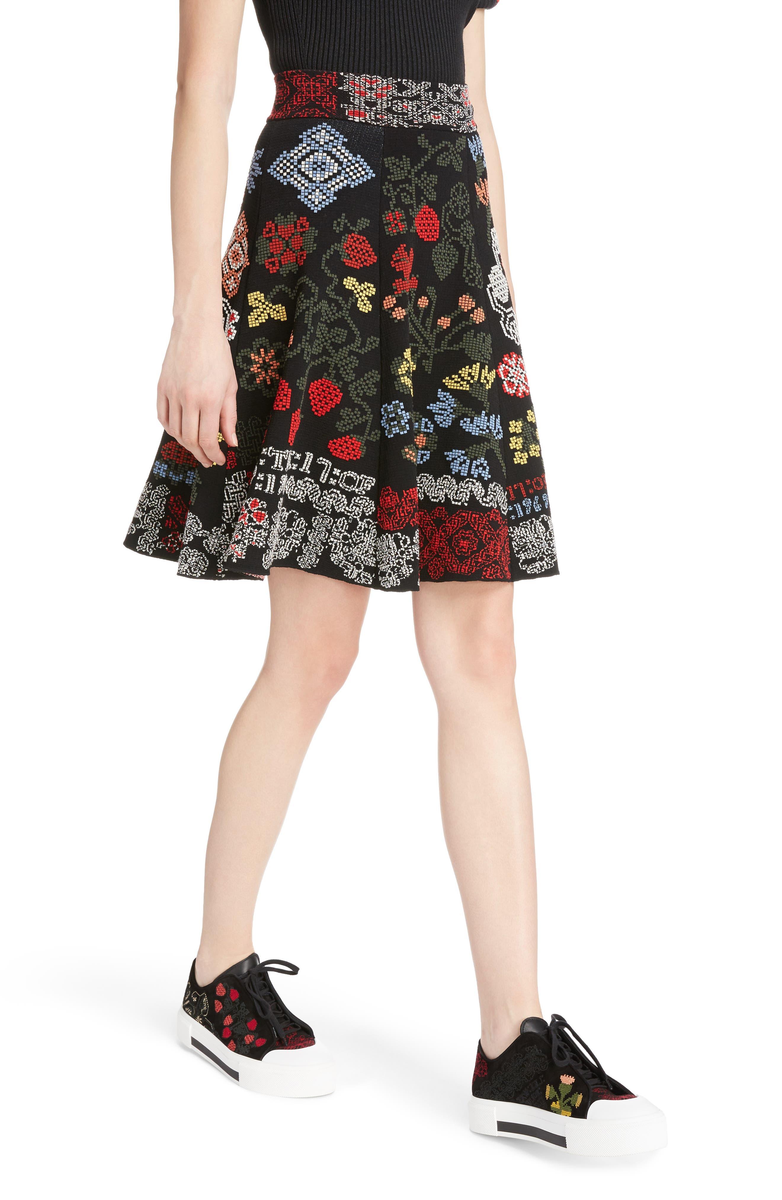 Cross Stitch Jacquard Skirt,                             Alternate thumbnail 4, color,                             Black Multi