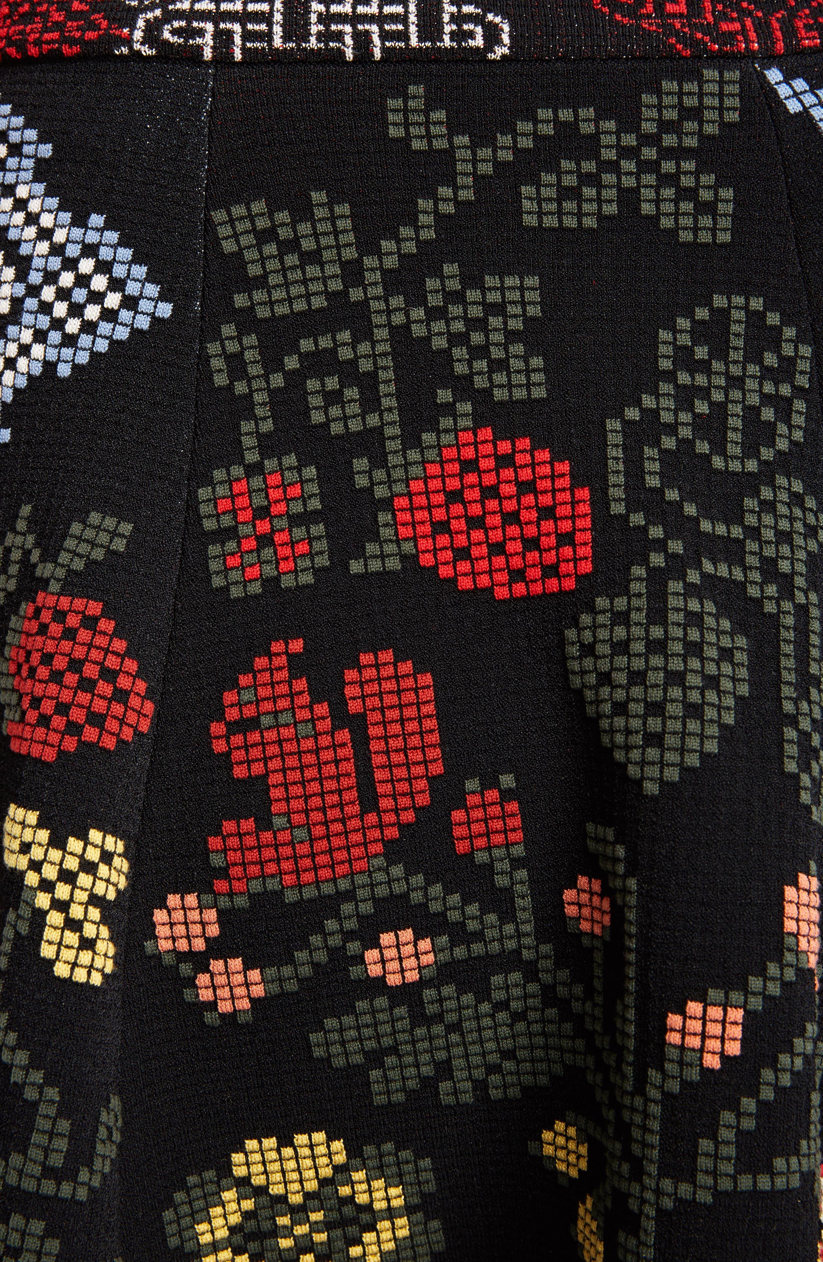 Cross Stitch Jacquard Skirt,                             Alternate thumbnail 5, color,                             Black Multi
