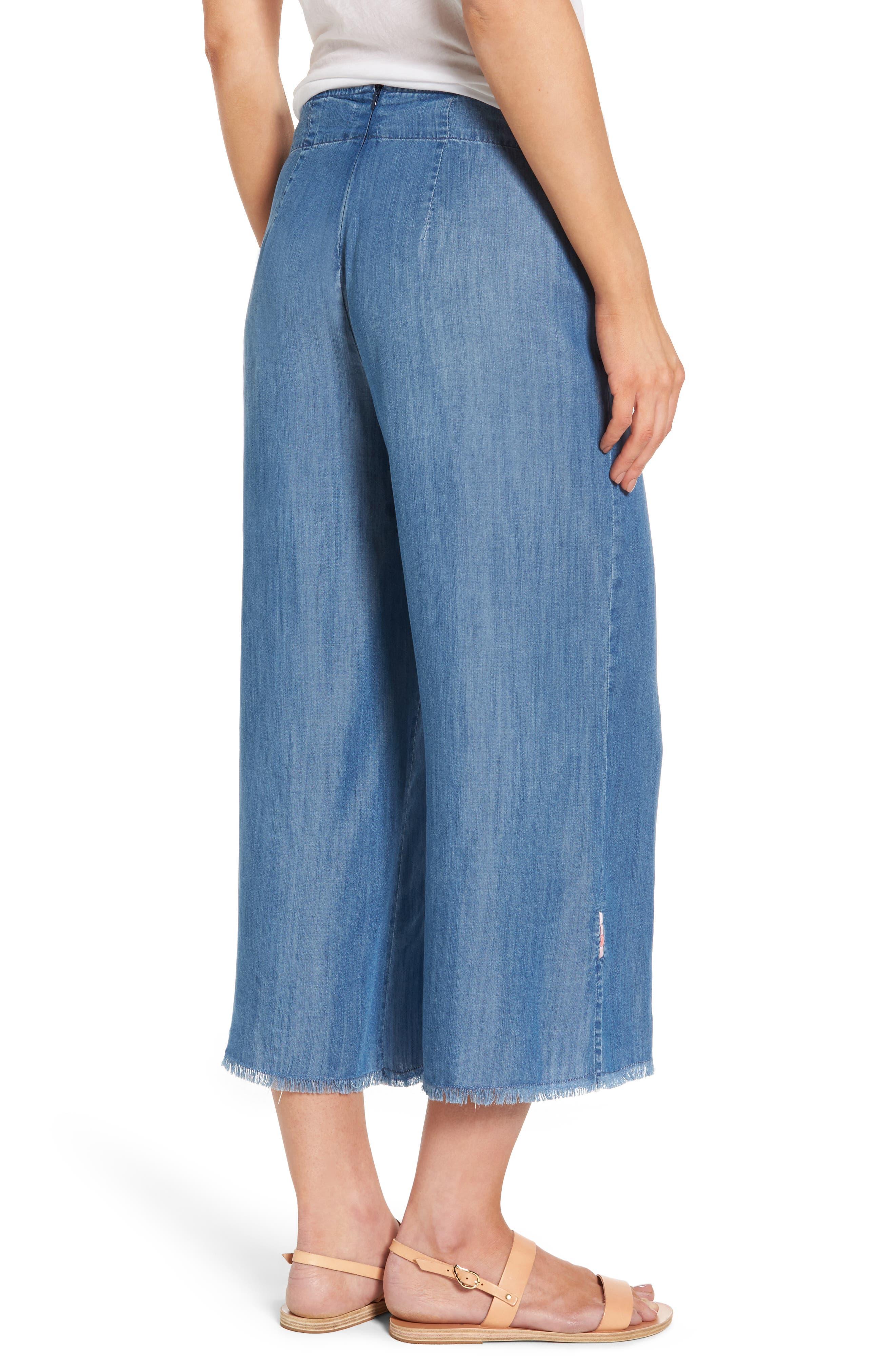 Tie Front Crop Chambray Pants,                             Alternate thumbnail 2, color,                             Medium Blue