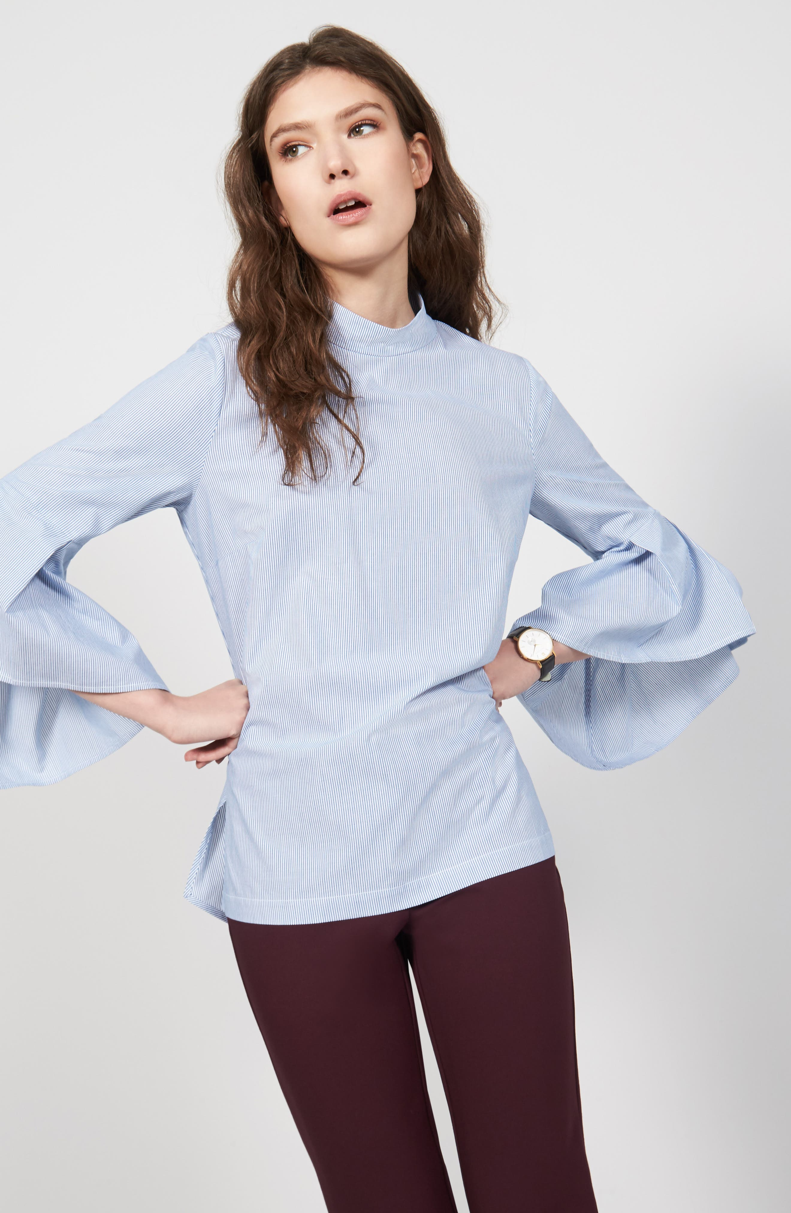 Ruffle Sleeve Poplin Shirt,                             Alternate thumbnail 2, color,                             Blue/ White Stripe