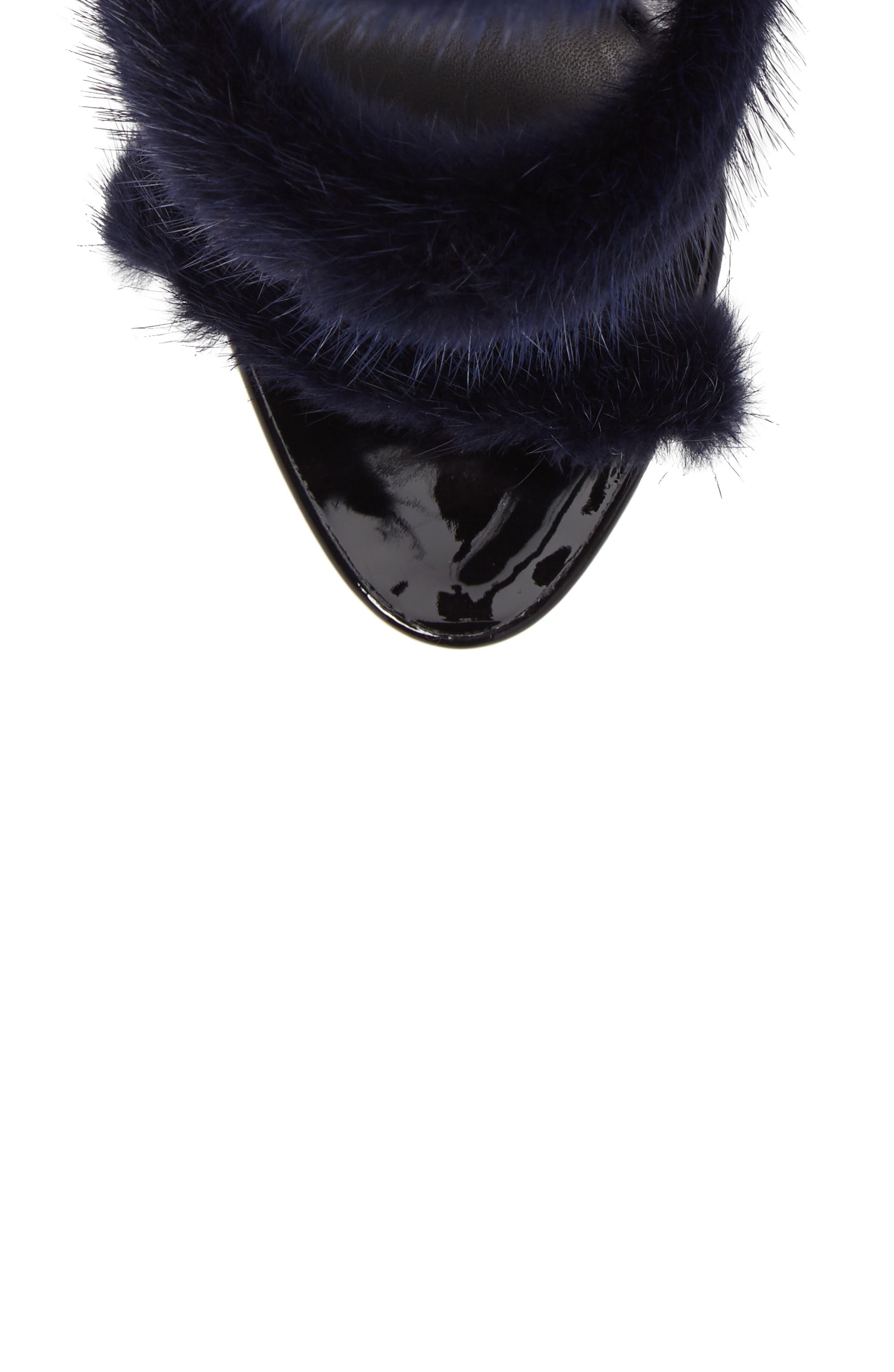 Genuine Mink Fur Triple Band Sandal,                             Alternate thumbnail 5, color,                             Navy/ Black