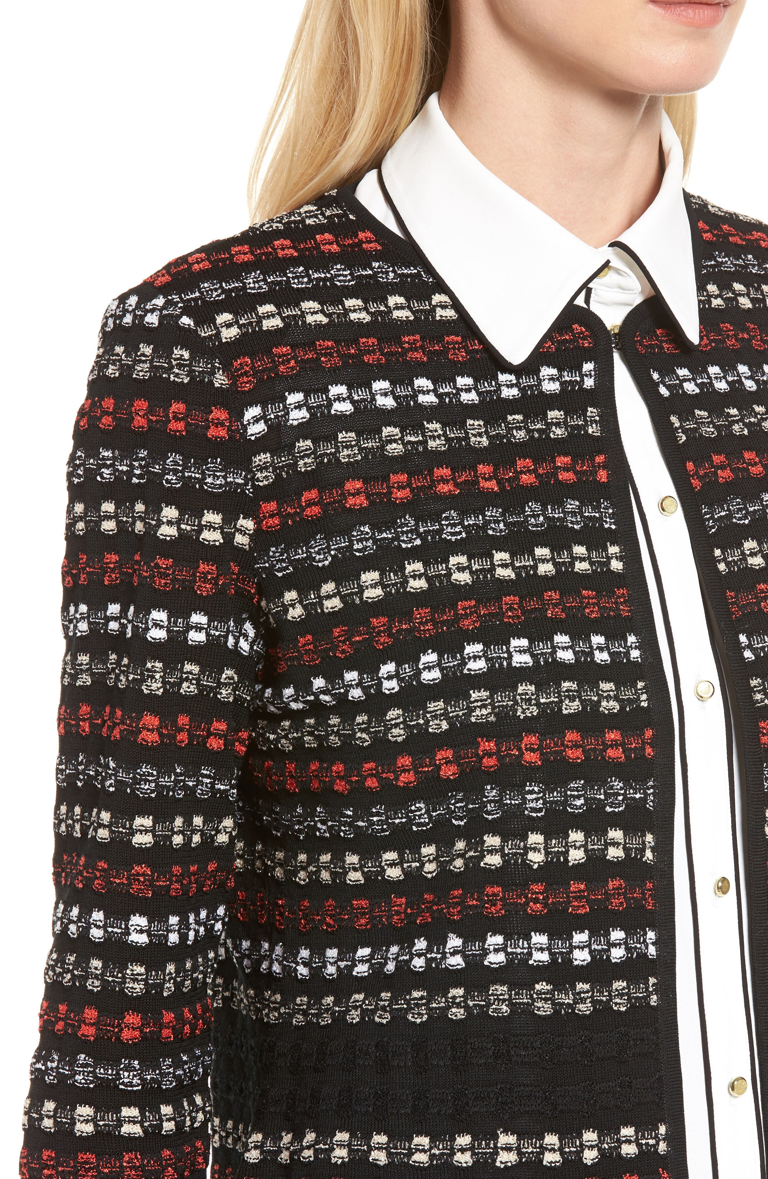 Alternate Image 4  - Ming Wang Three-Quarter Sleeve Knit Jacket