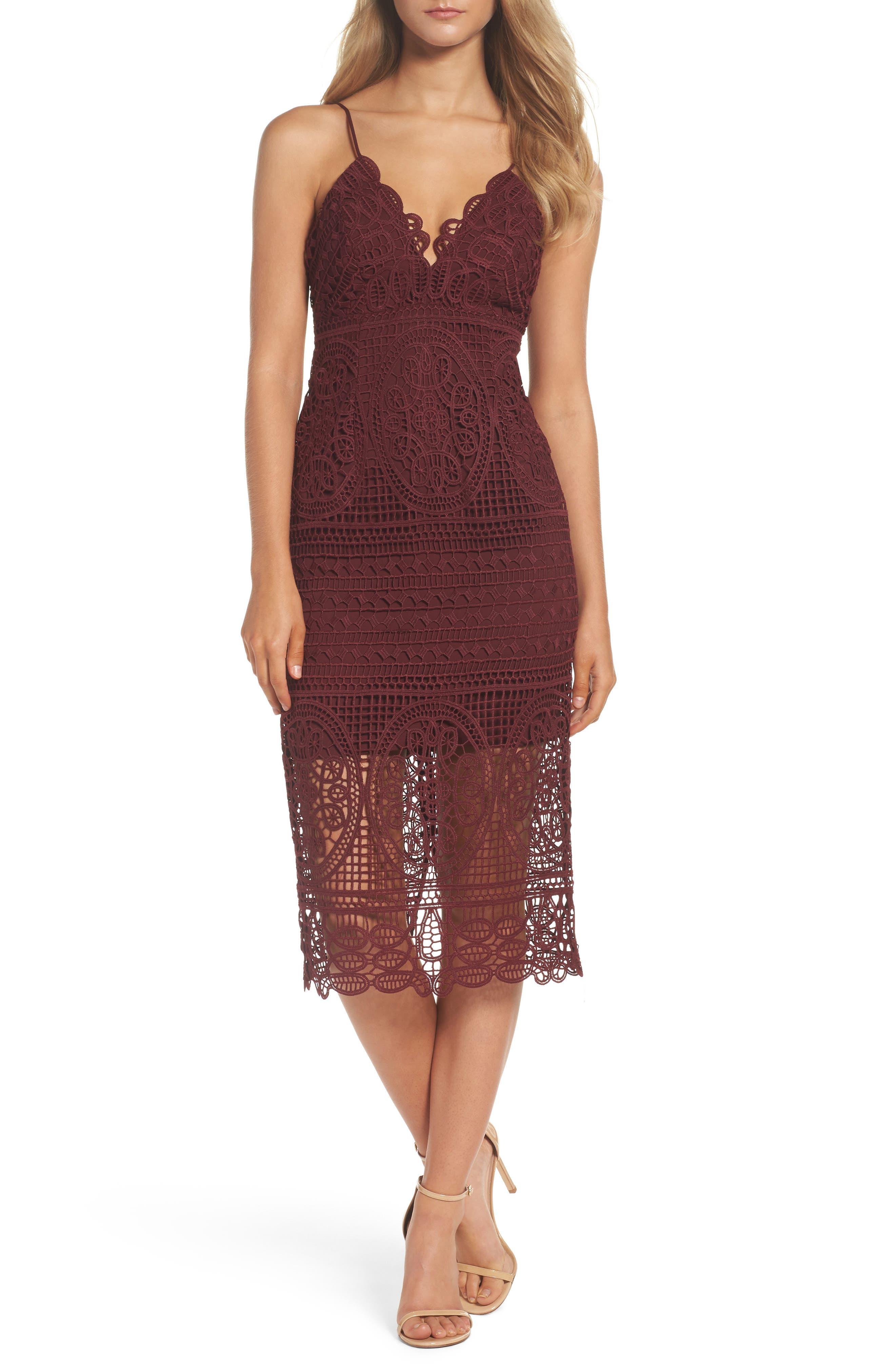 Versailles Lace Pencil Dress,                             Main thumbnail 1, color,                             Burgundy