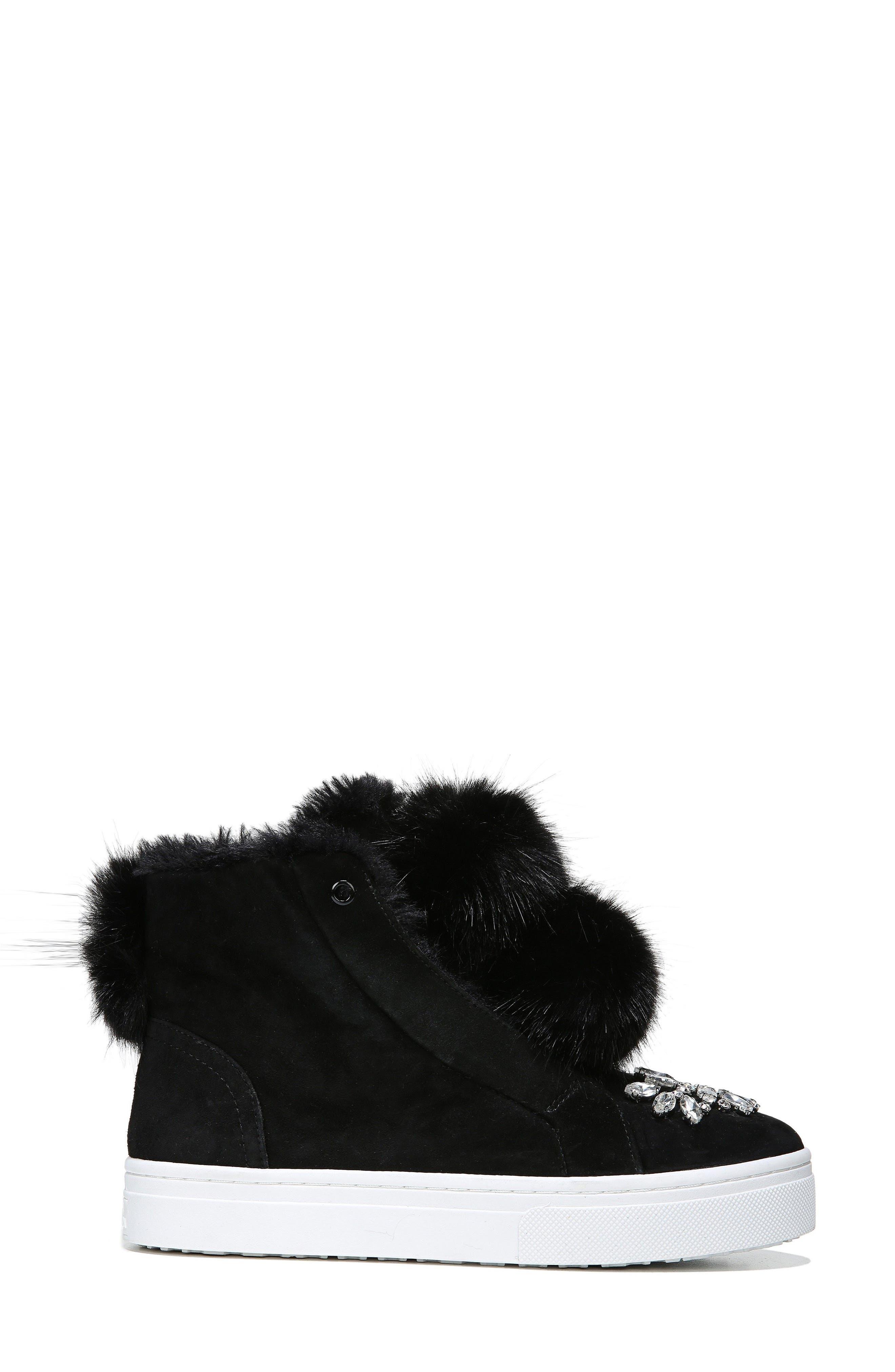 Leland Faux Fur Sneaker,                             Alternate thumbnail 2, color,                             Black Suede