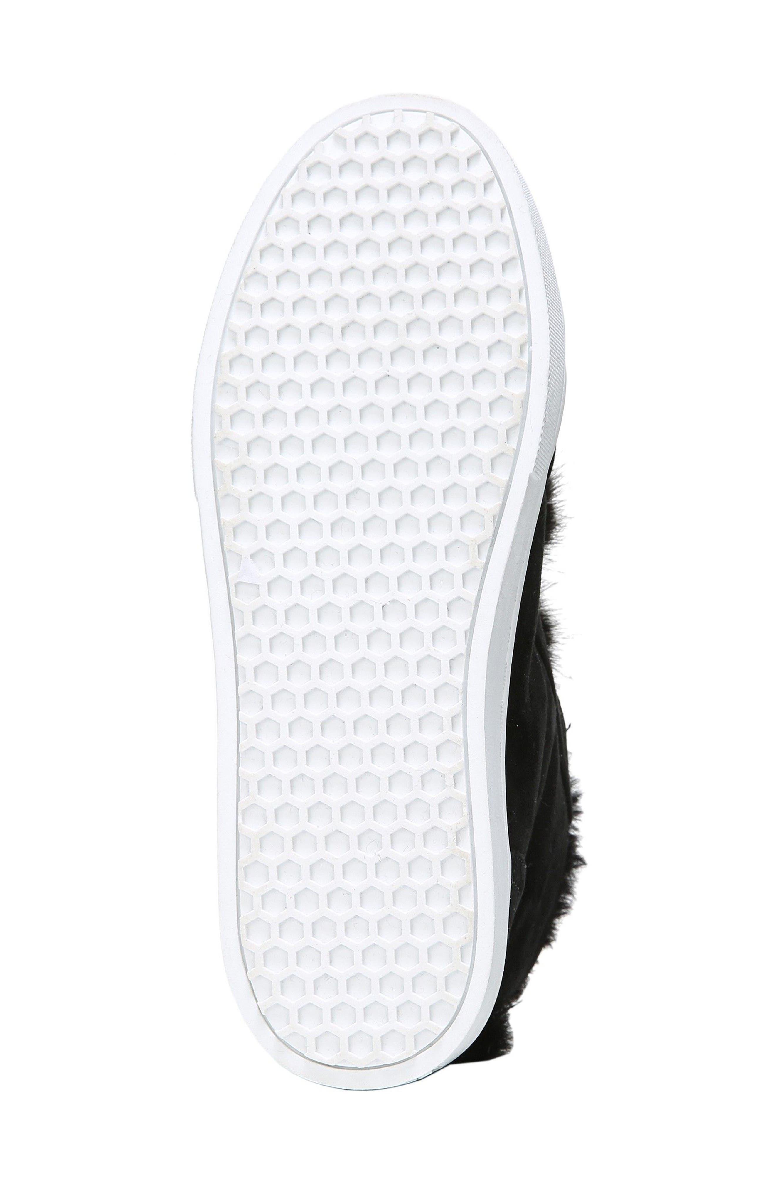 Leland Faux Fur Sneaker,                             Alternate thumbnail 6, color,                             Black Suede