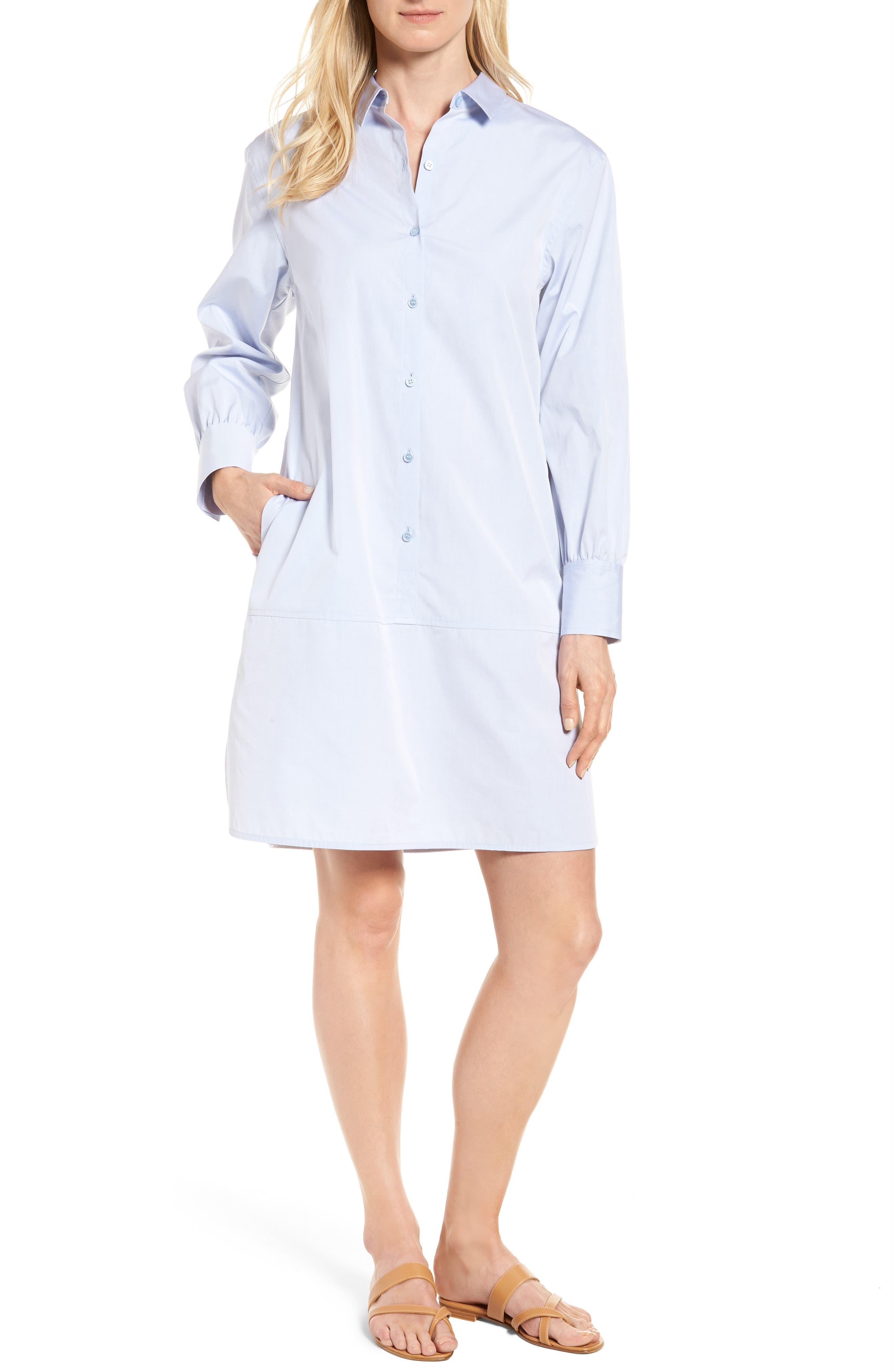 Main Image - Nordstrom Signature Solid Poplin Shirtdress