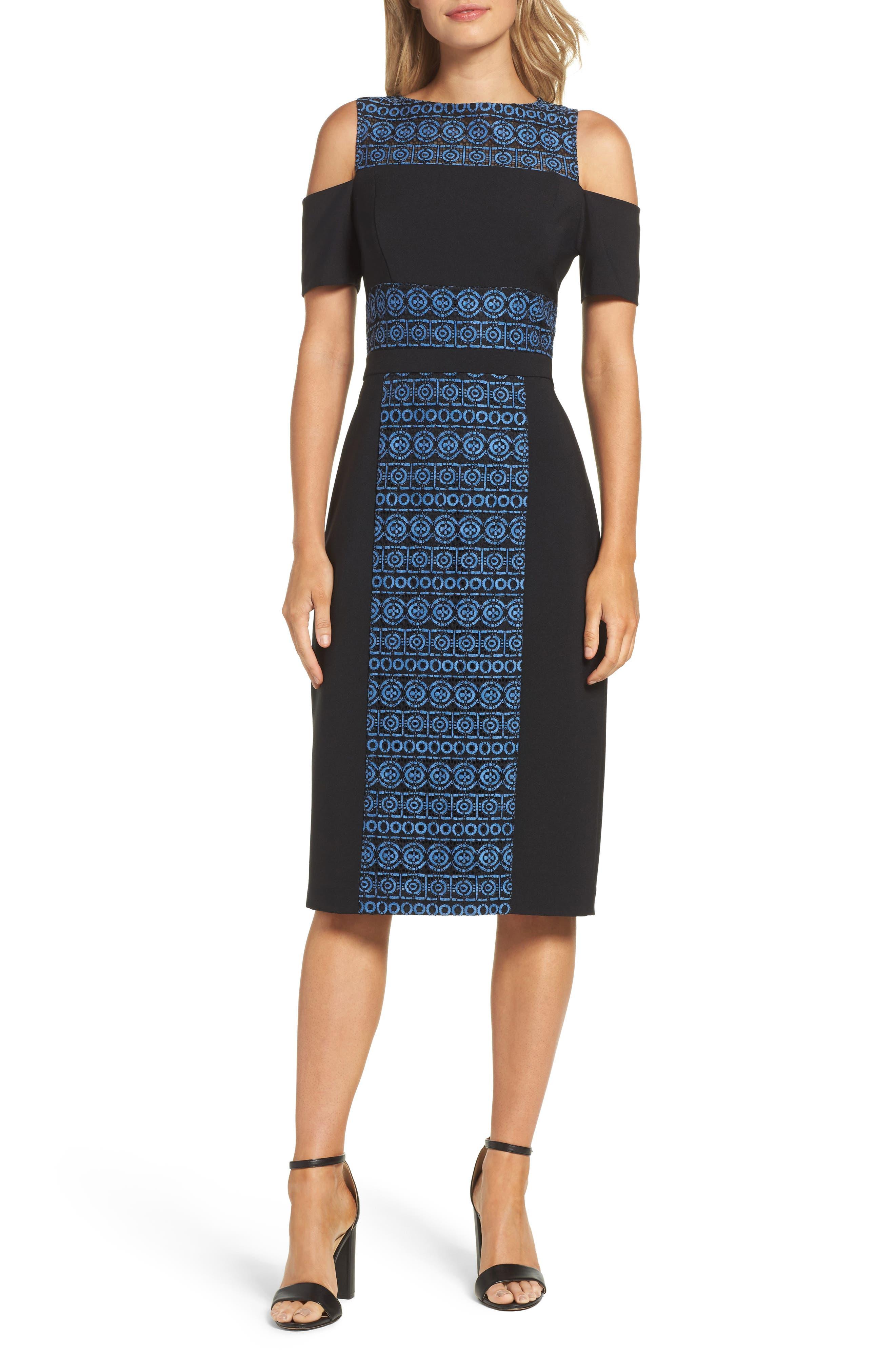 Maggy London Cold Shoulder Pencil Dress (Regular & Petite)