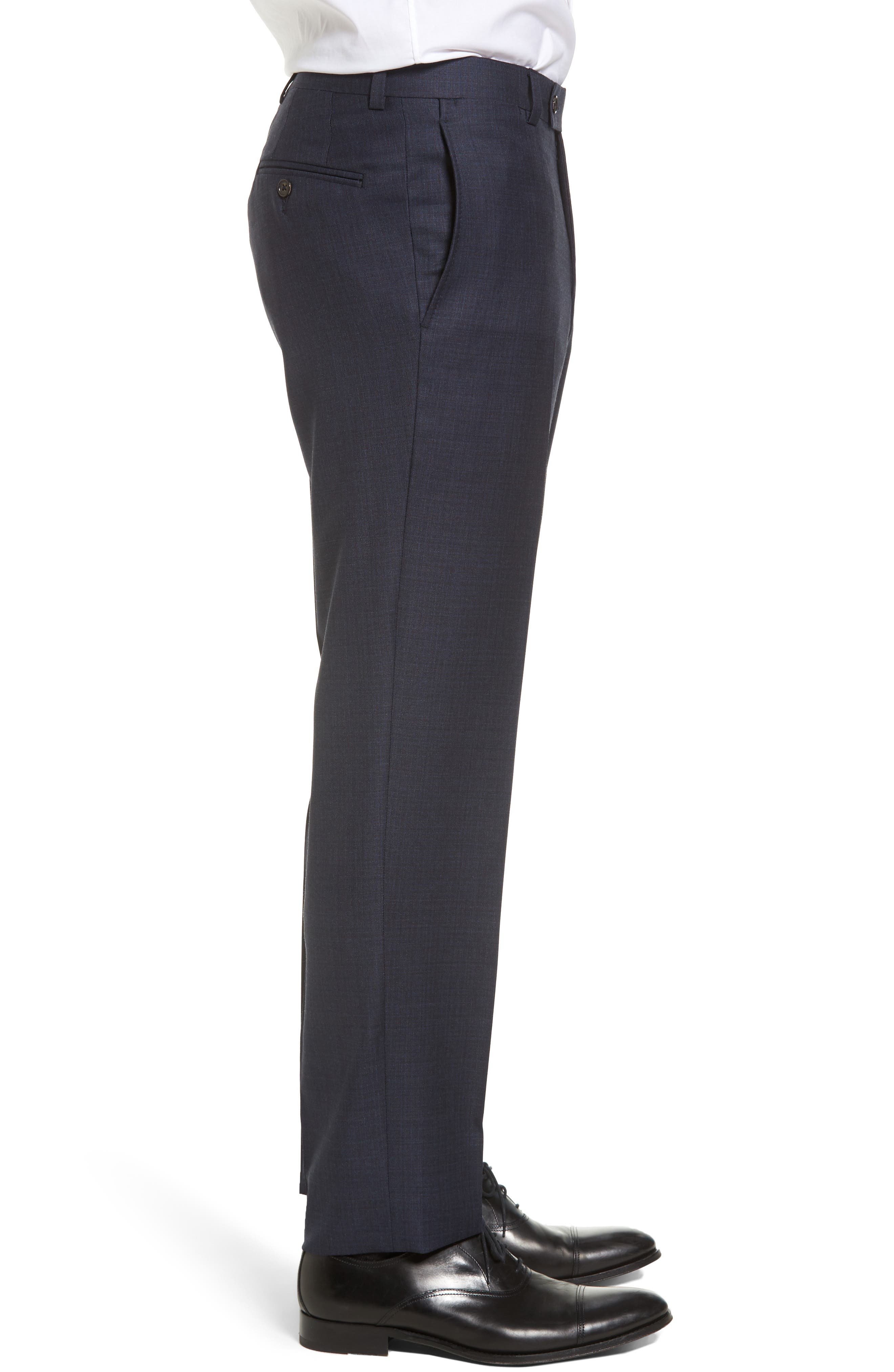 Jefferson Flat Front Solid Wool Trousers,                             Alternate thumbnail 3, color,                             Navy