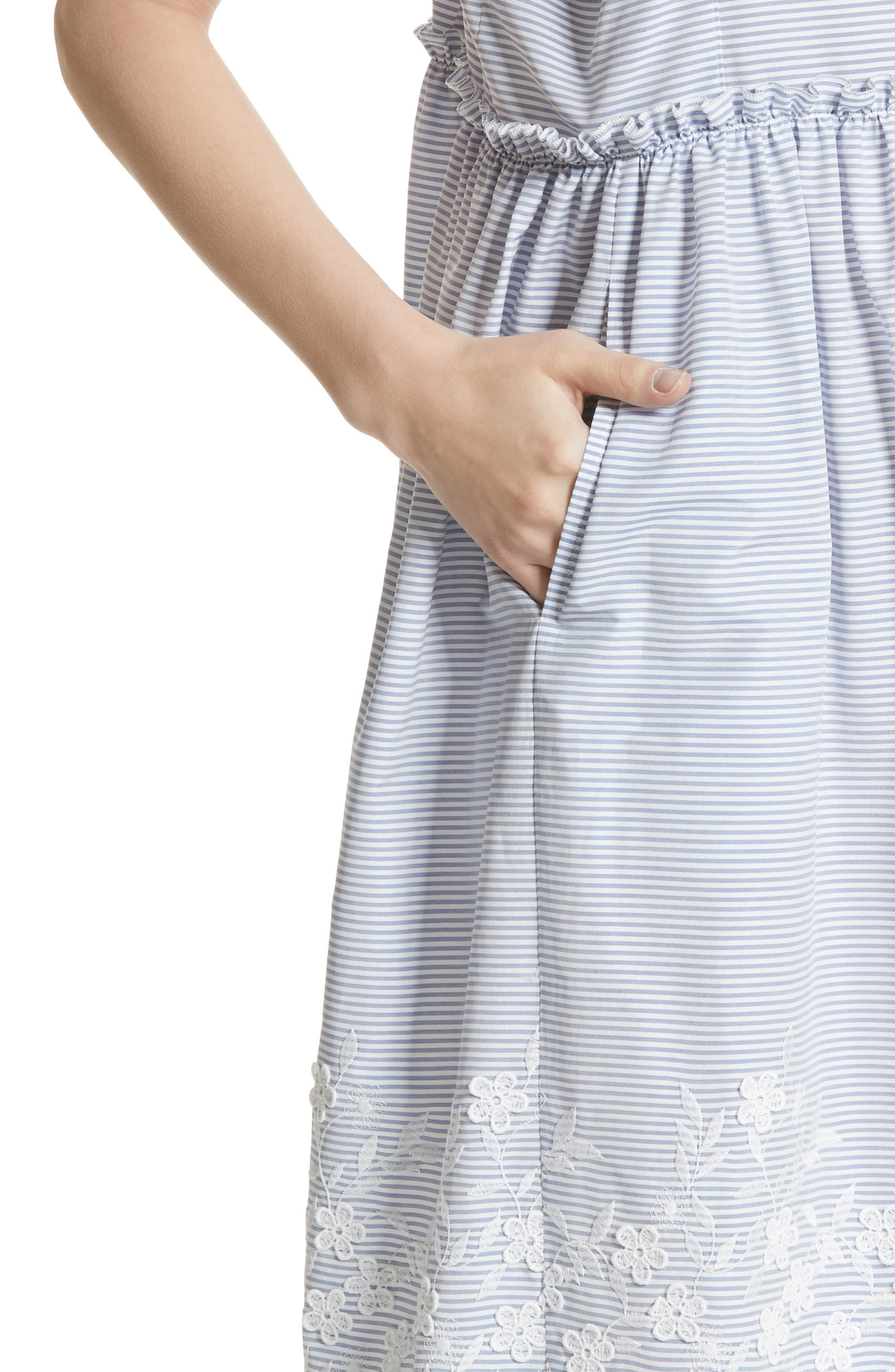 Floral Embroidered Stripe Shift Dress,                             Alternate thumbnail 7, color,                             Wide Stripe