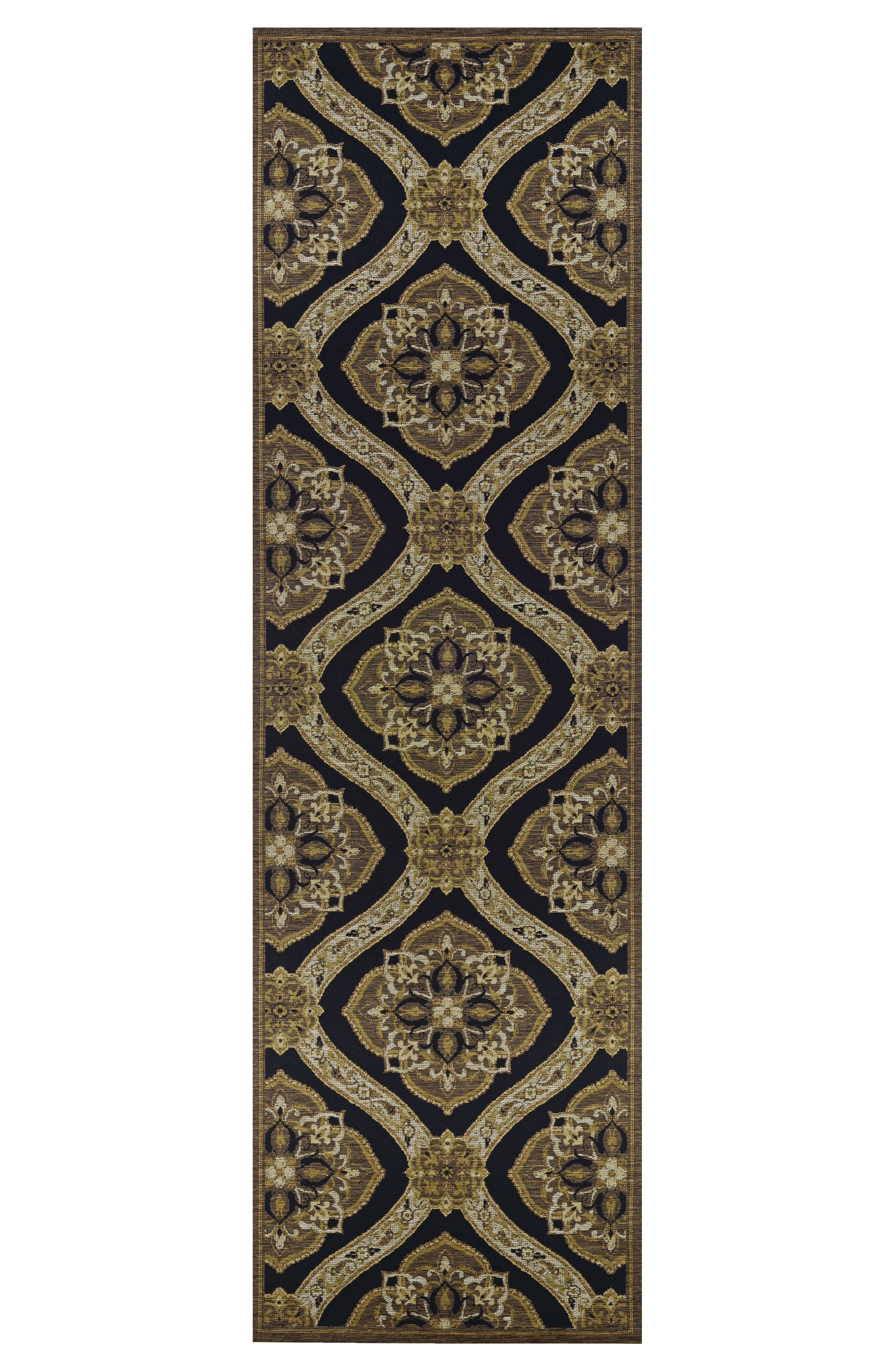 Napoli Indoor/Outdoor Rug,                             Alternate thumbnail 2, color,                             Black/ Gold