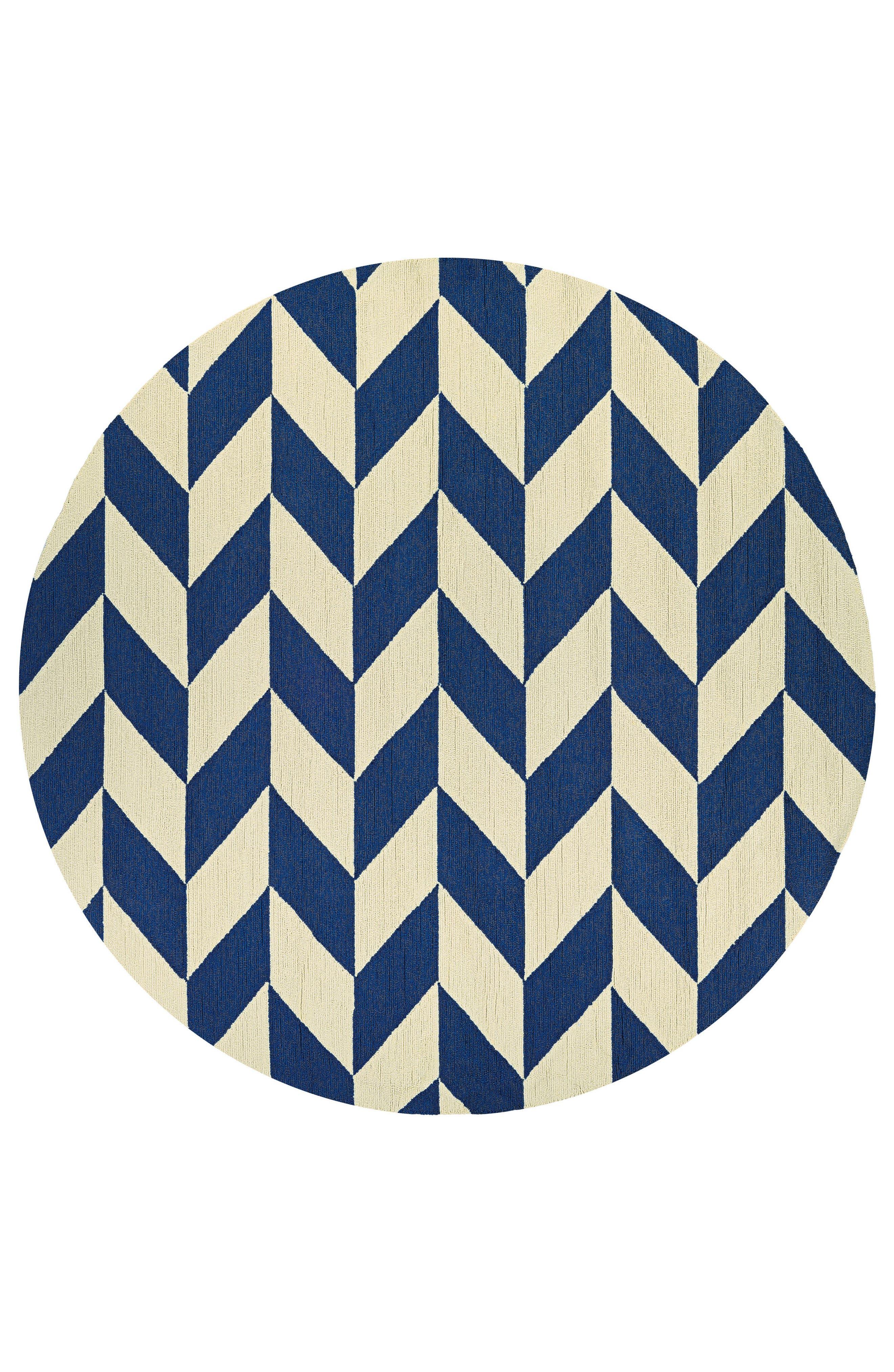 Herringbone Indoor/Outdoor Round Rug,                         Main,                         color, Navy/ Ivory