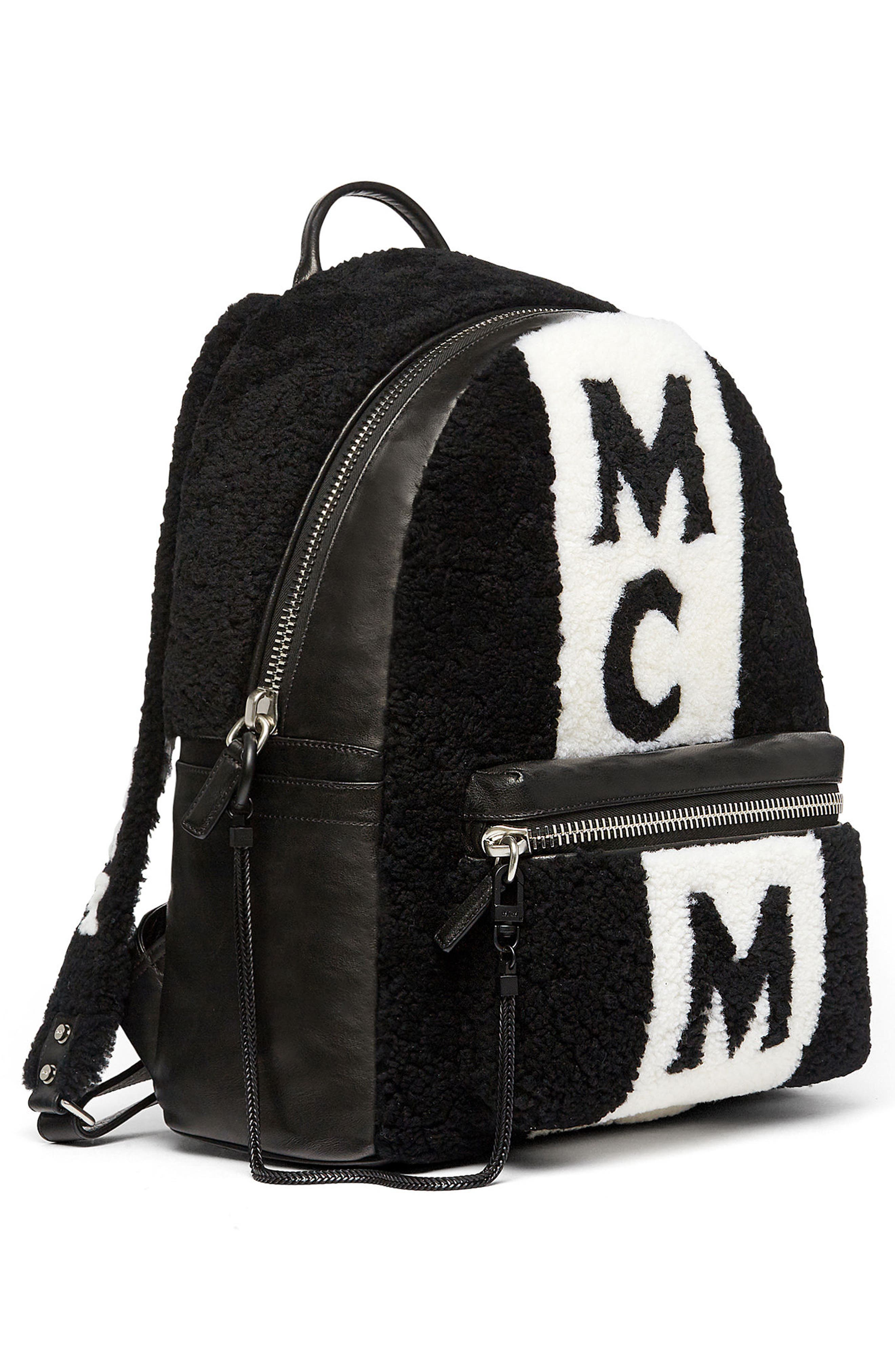 Alternate Image 5  - MCM Stark Genuine Shearling Stripe Canvas Backpack