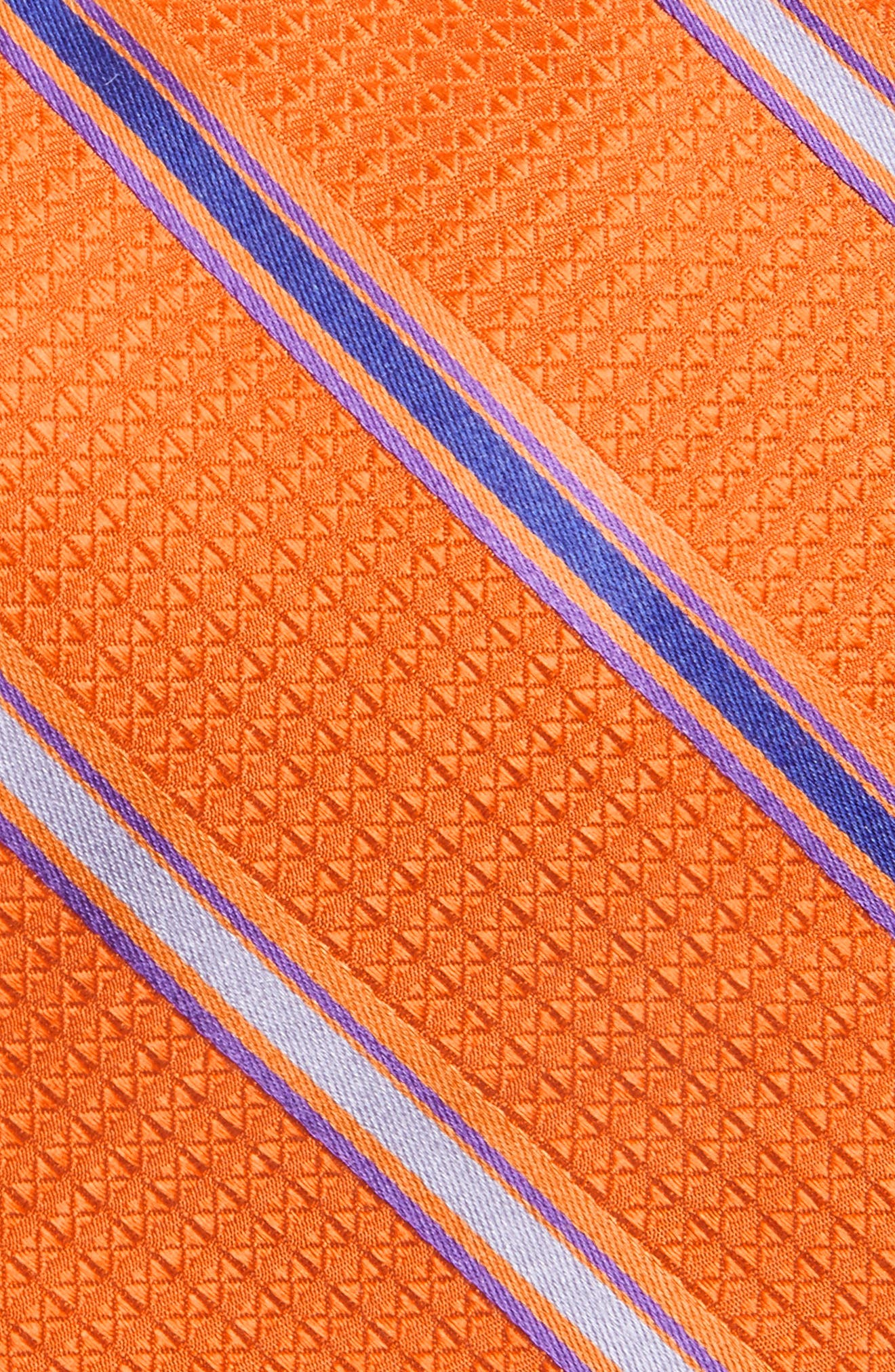 Stripe Silk Tie,                             Alternate thumbnail 2, color,                             Orange