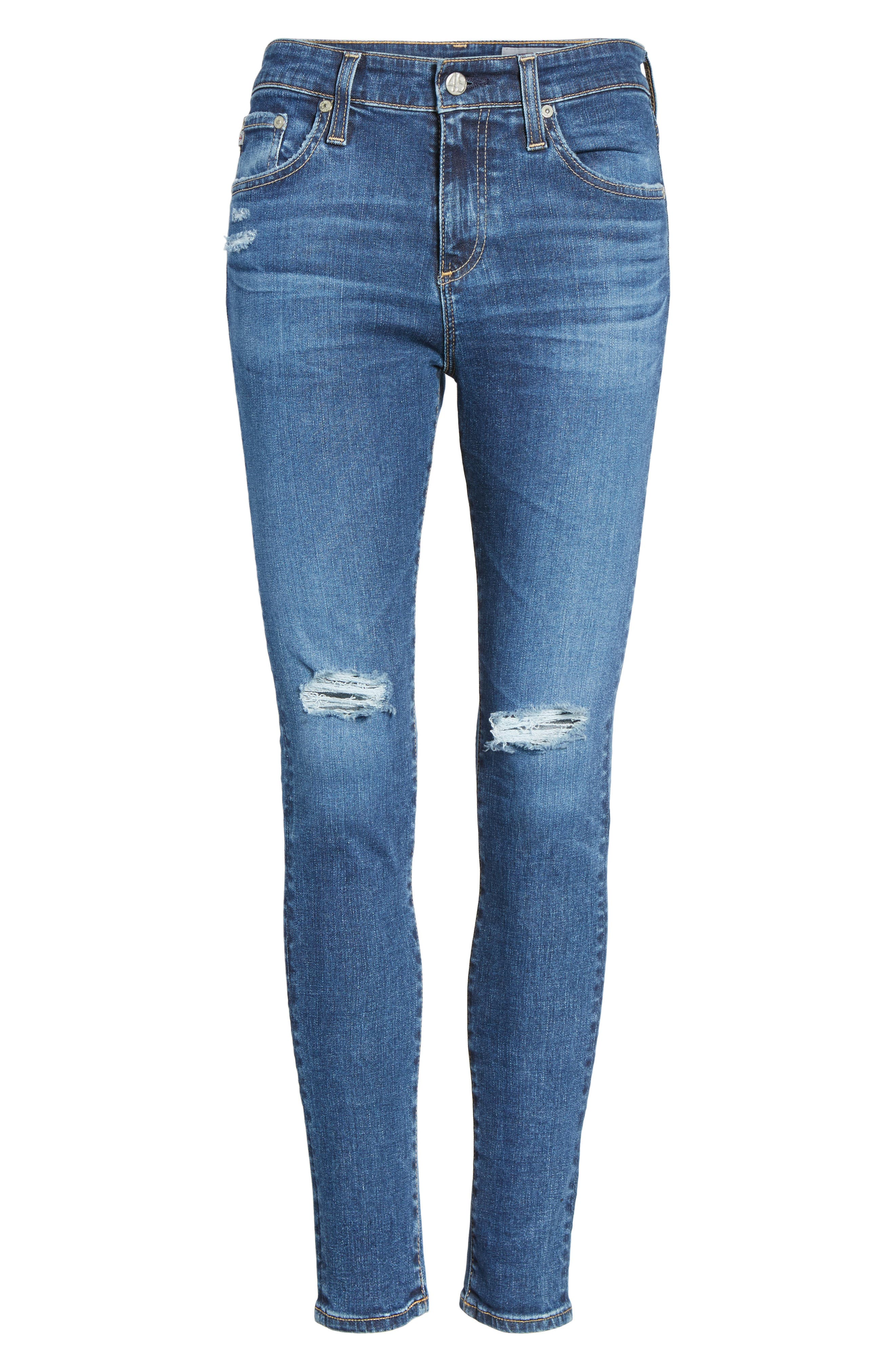 Alternate Image 6  - AG The Farrah High Waist Ankle Skinny Jeans (13 Years Day Break Destroyed)