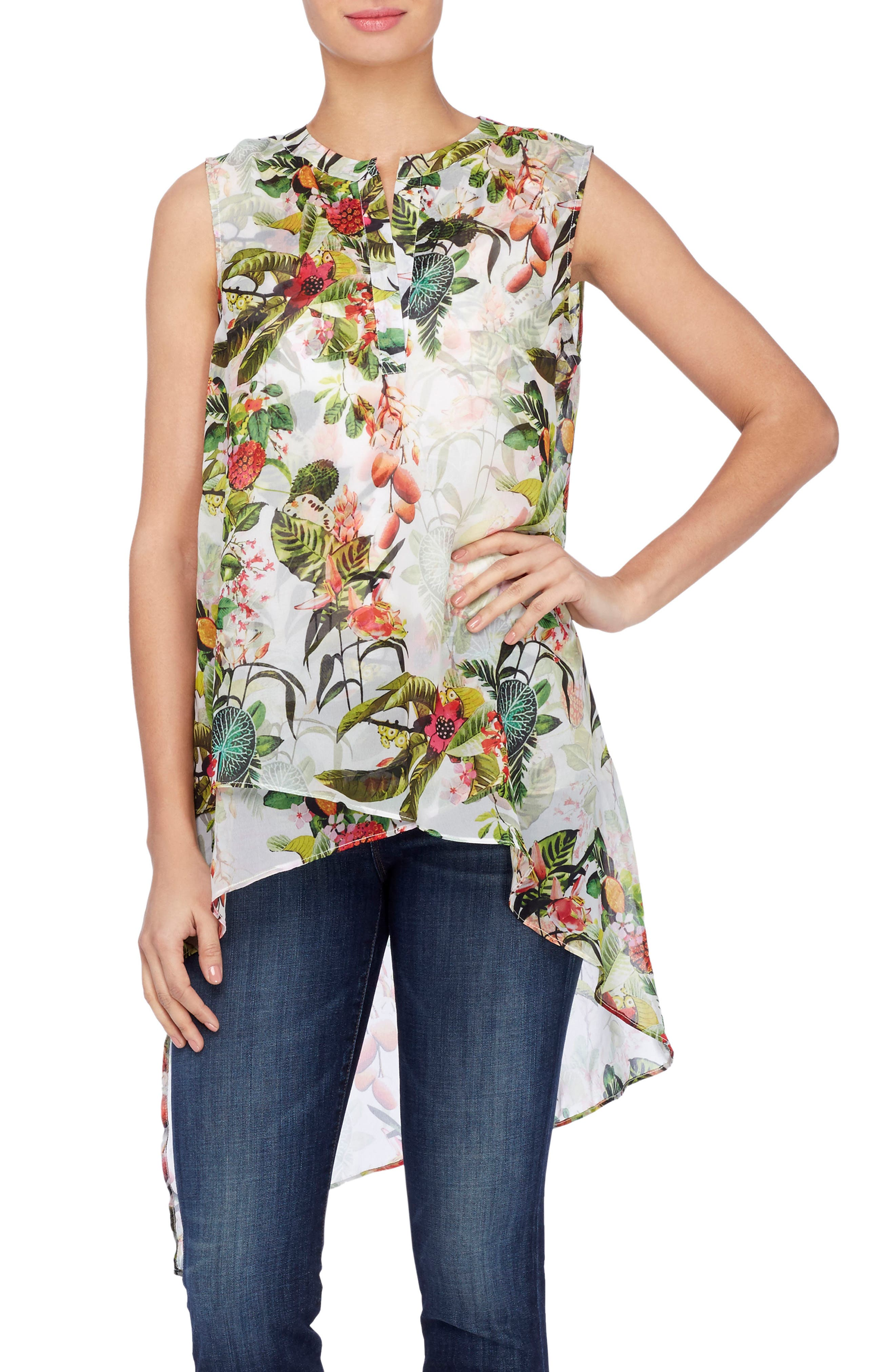 Alternate Image 1 Selected - Catherine Catherine Malandrino Livy Print High/Low Tunic Blouse