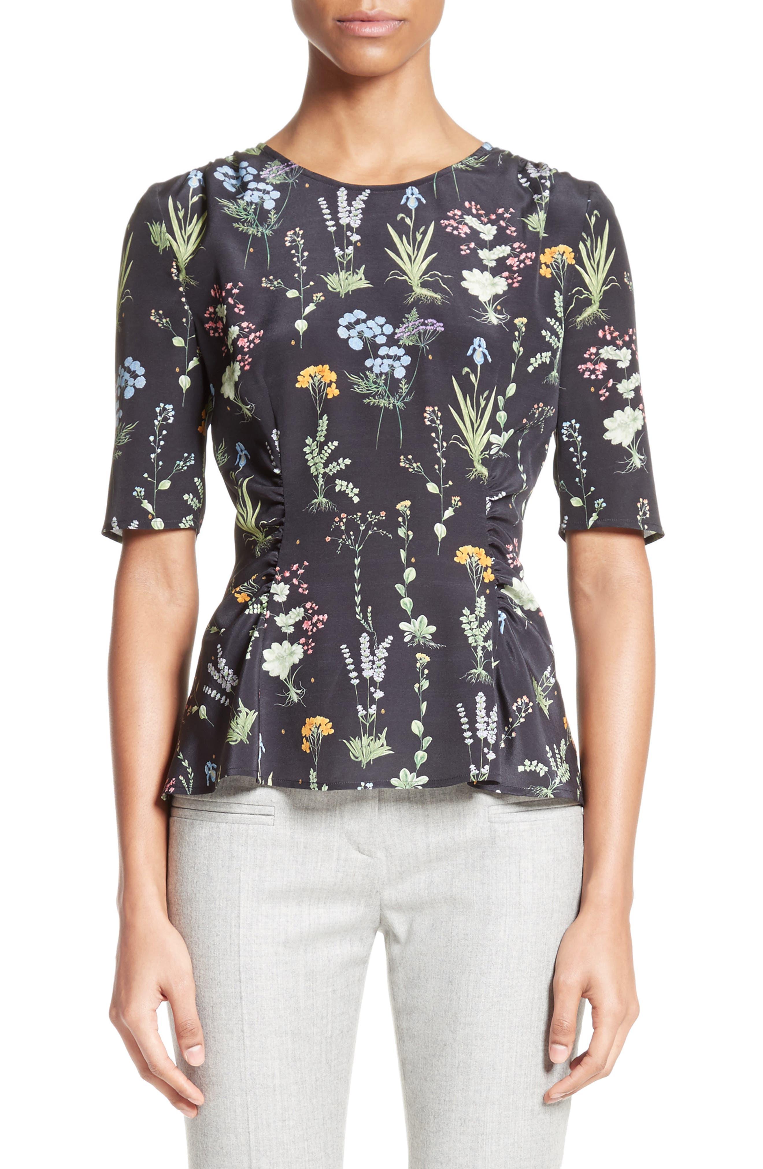 Altuzarra Erinna Floral Print Silk Top