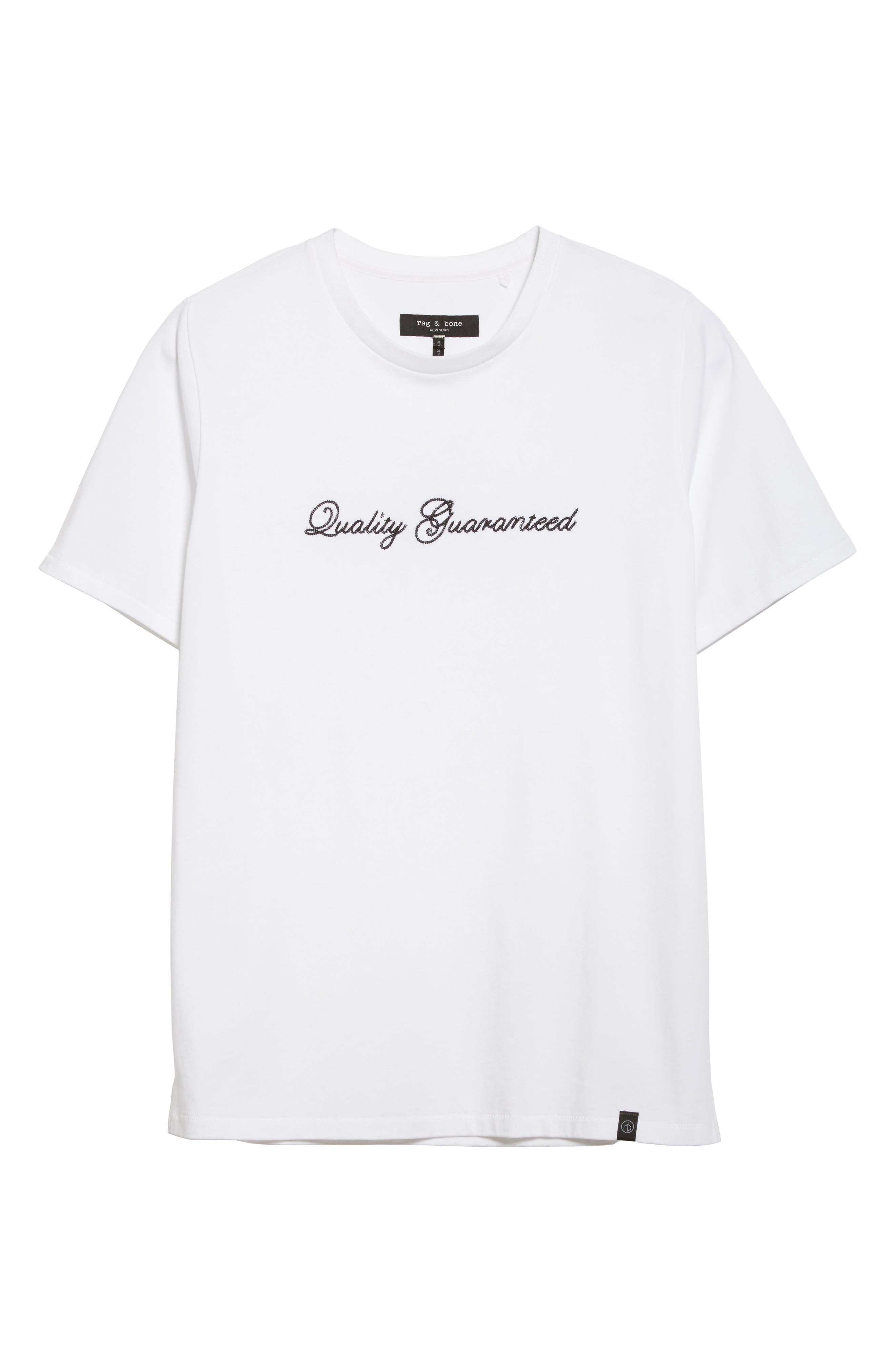Quality Guaranteed Embroidered T-Shirt,                             Alternate thumbnail 6, color,                             White