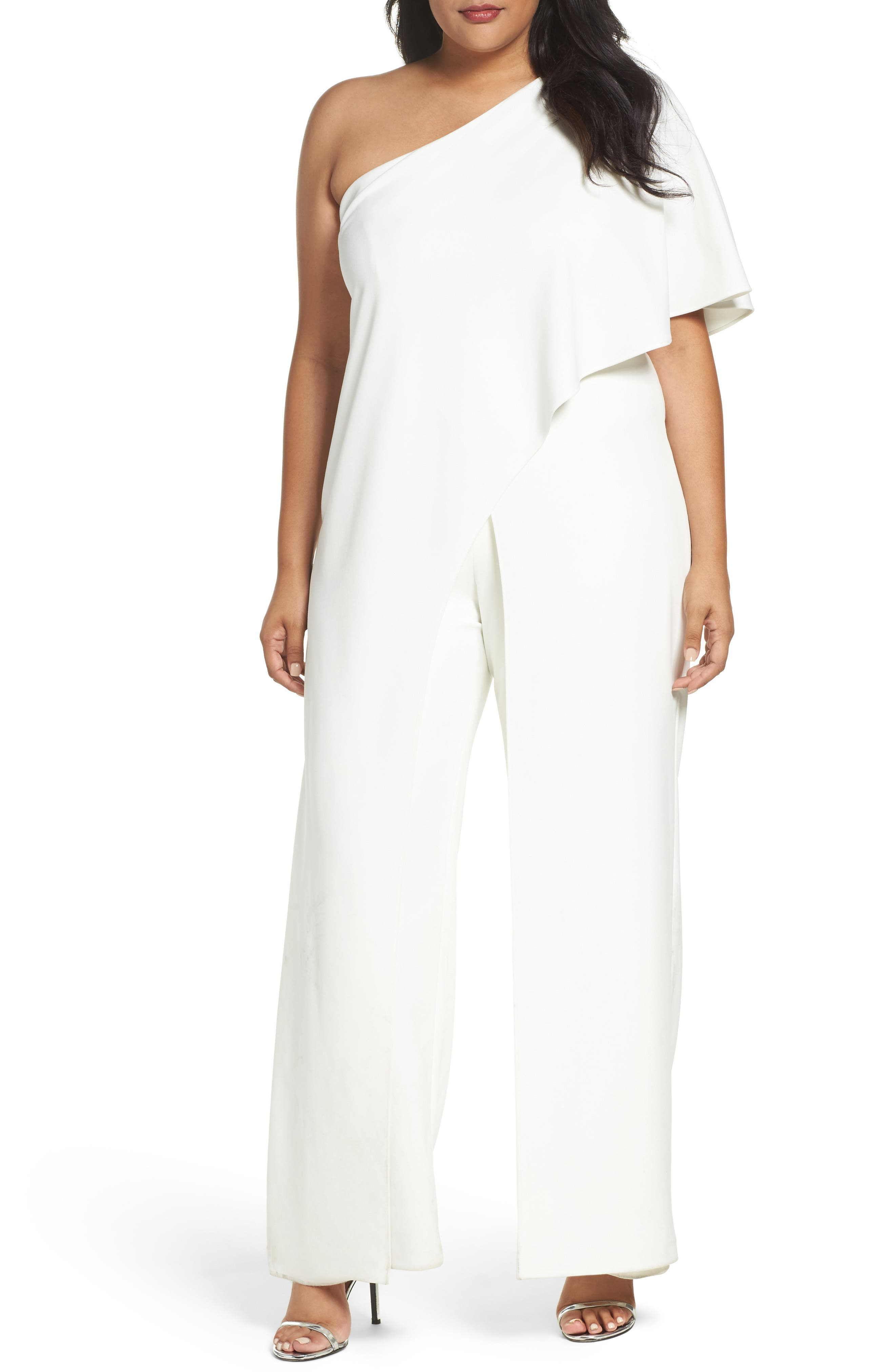 Alternate Image 1 Selected - Adrianna Papell One-Shoulder Jumpsuit (Plus Size)