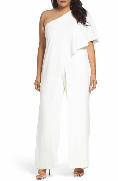 Adrianna Papell One Shoulder Jumpsuit Plus Size