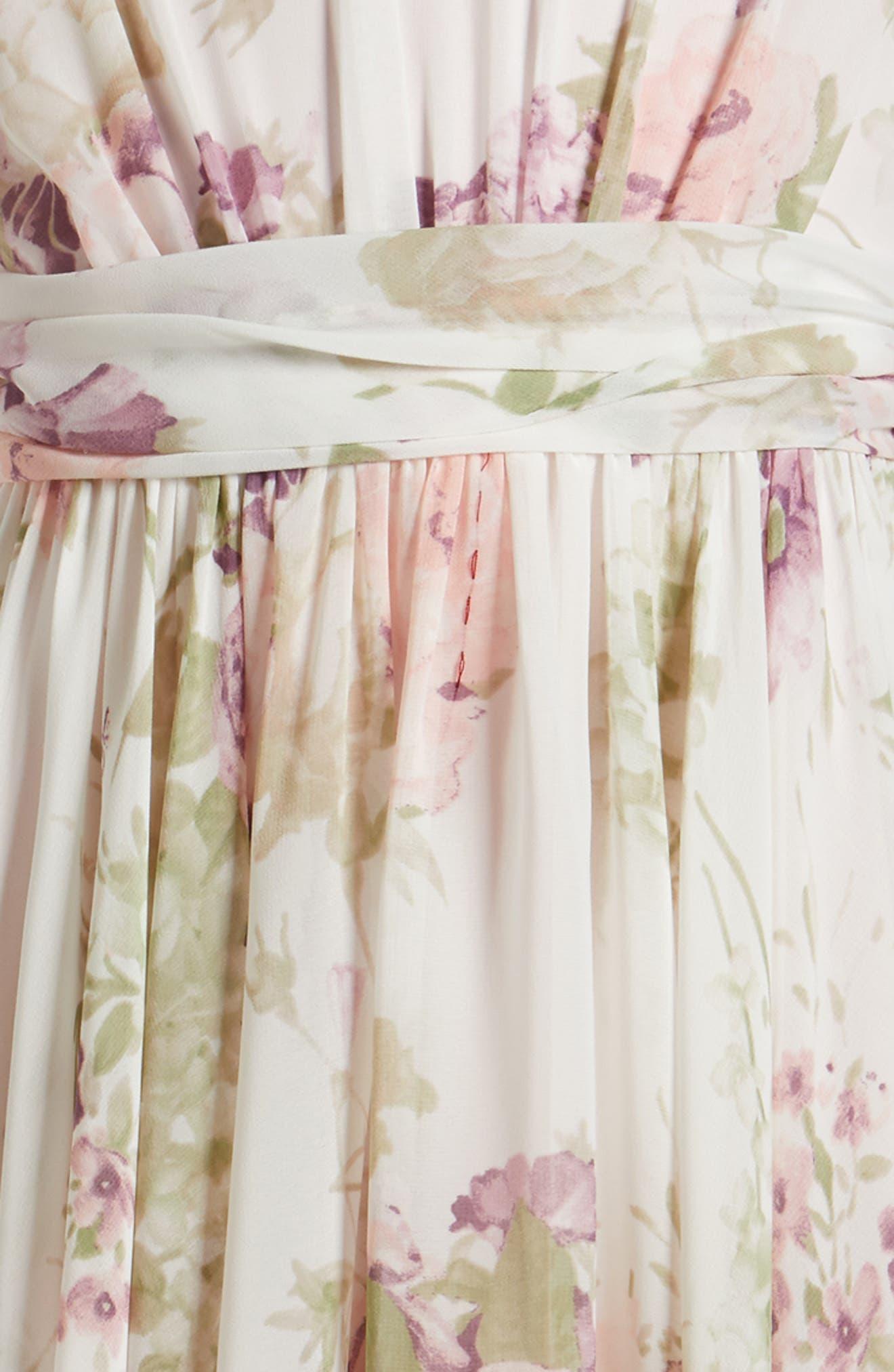 Alternate Image 3  - Dessy Collection Flutter Sleeve Long Chiffon Flower Girl Dress (Toddler Girls, Little Girls & Big Girls)