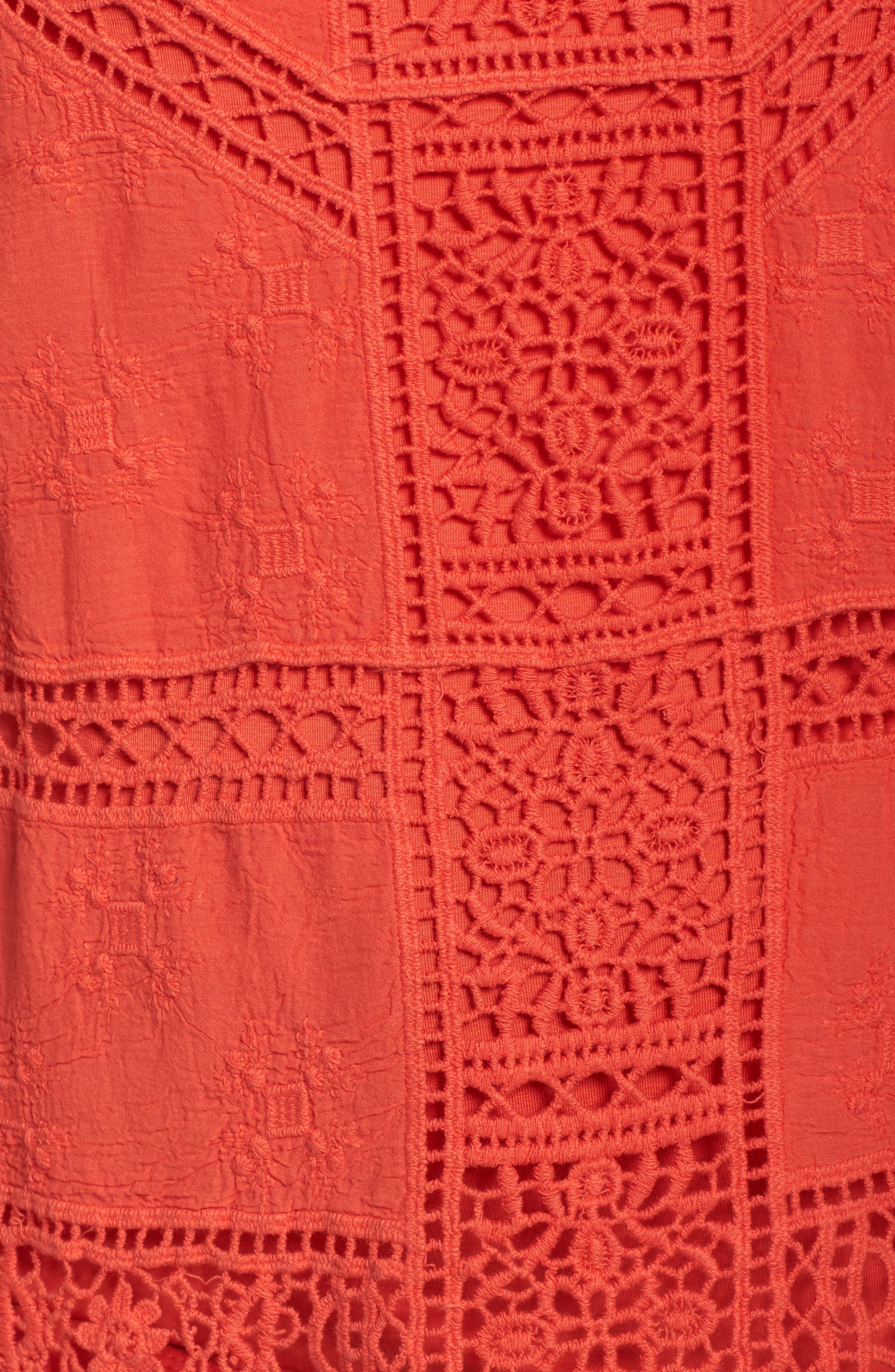 Flutter Sleeve Crochet Top,                             Alternate thumbnail 5, color,                             Red Coral