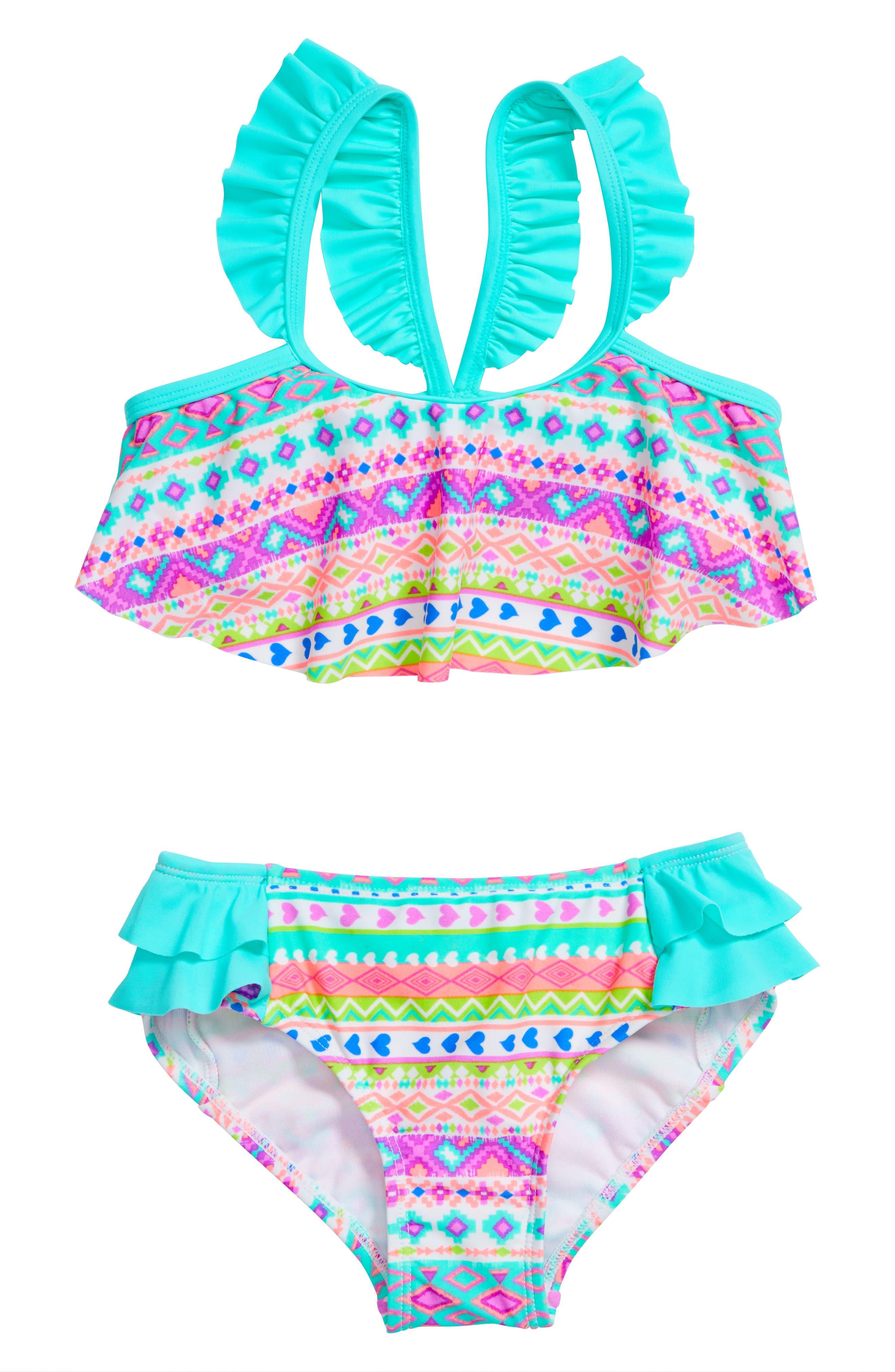Hula Star Hippie Hearts Two-Piece Swimsuit (Toddler Girls & Little Girls)