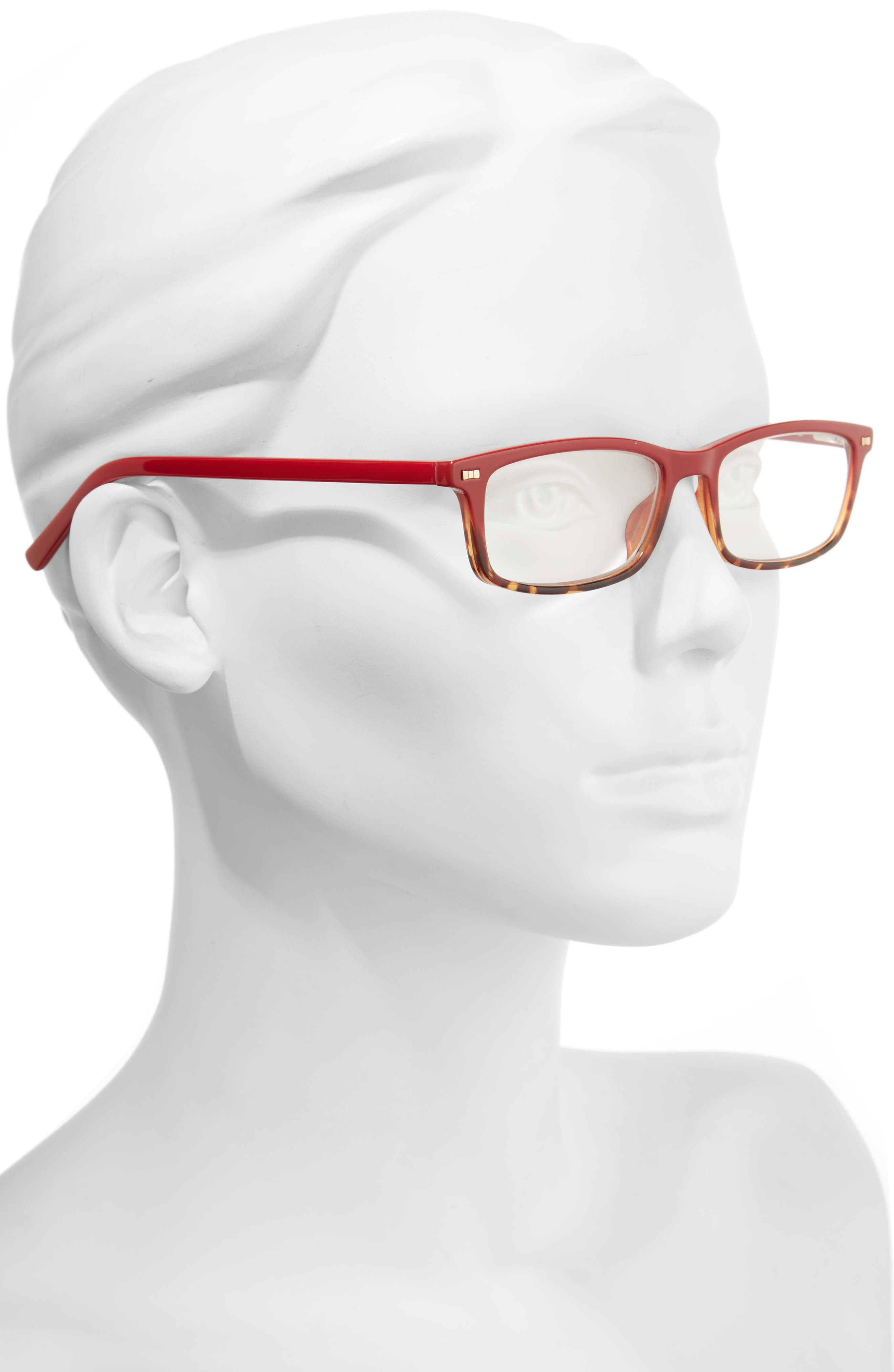 jodie 50mm rectangular reading glasses,                             Alternate thumbnail 2, color,                             Red Havana