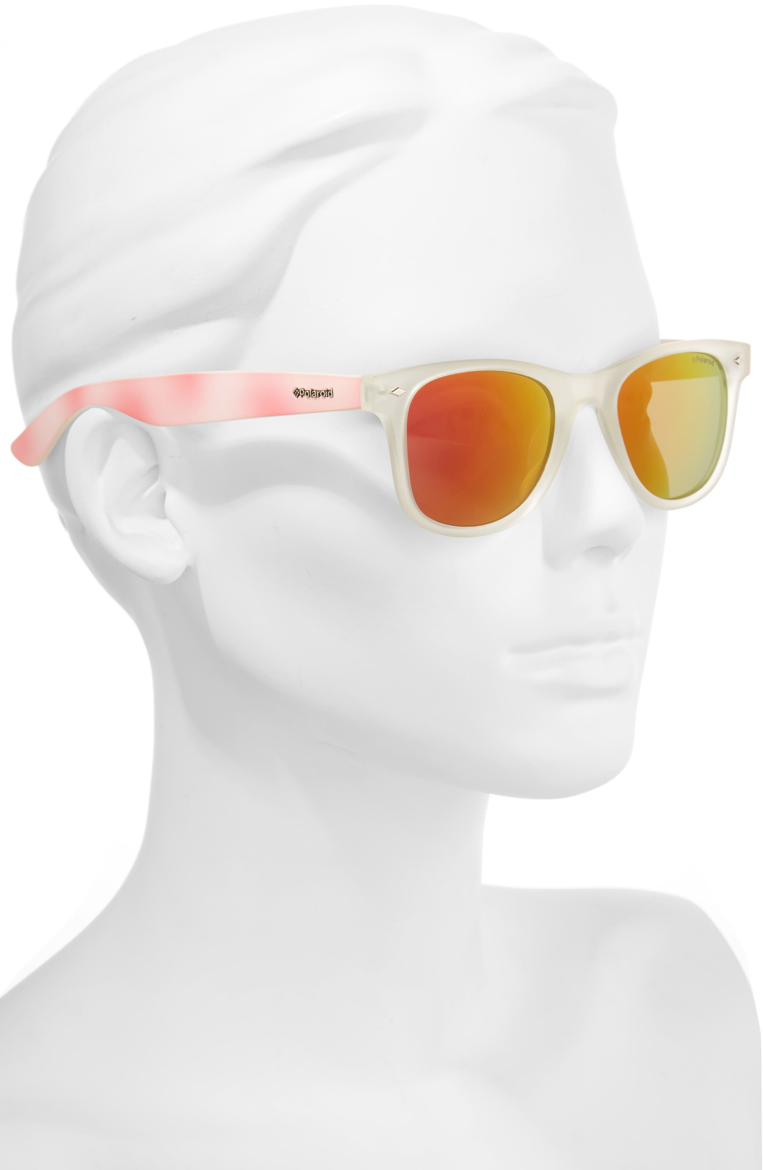 50mm Polarized Sunglasses,                             Alternate thumbnail 2, color,                             Bright Pink