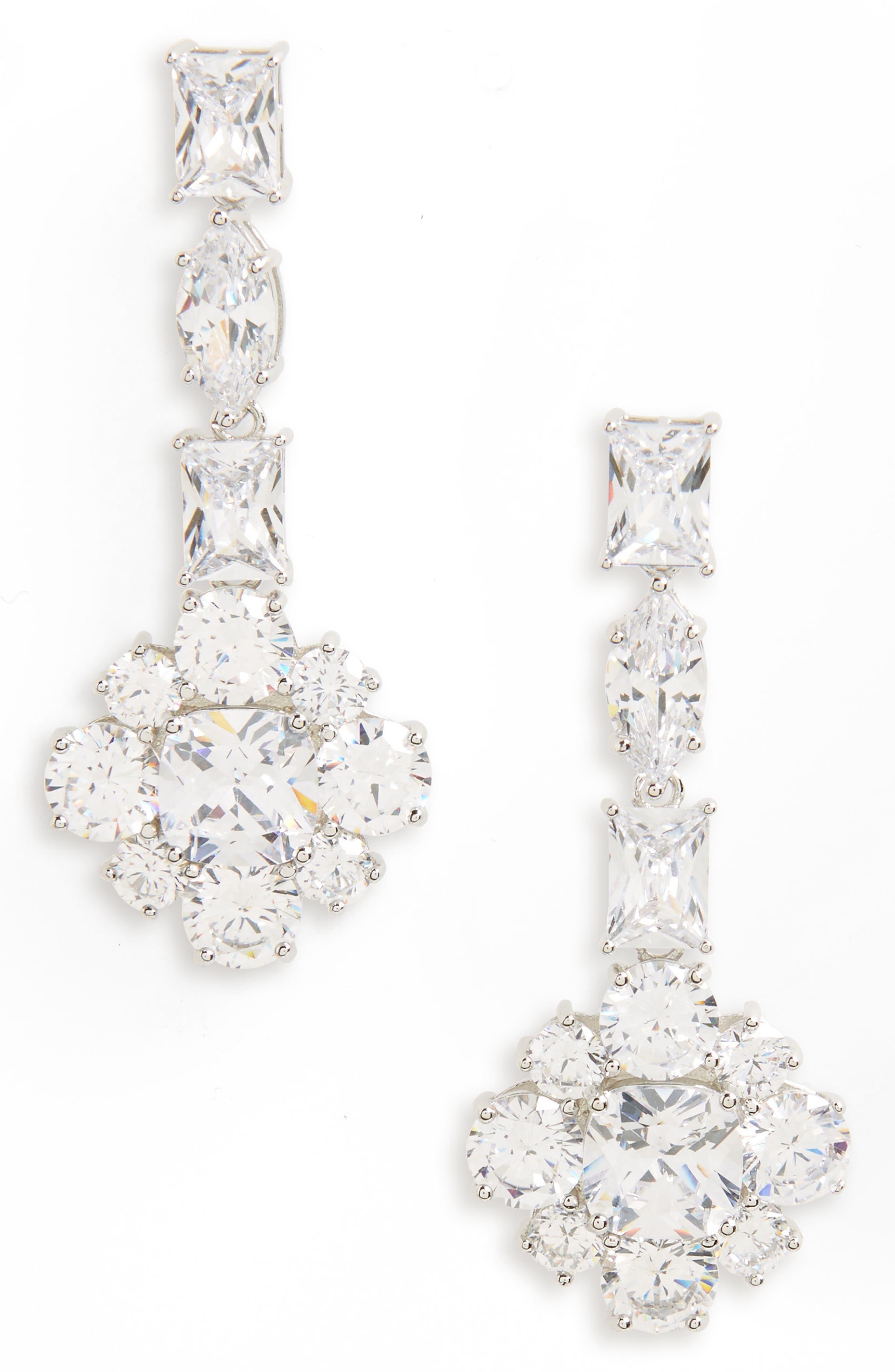 Custer Drop Earrings,                         Main,                         color, Silver