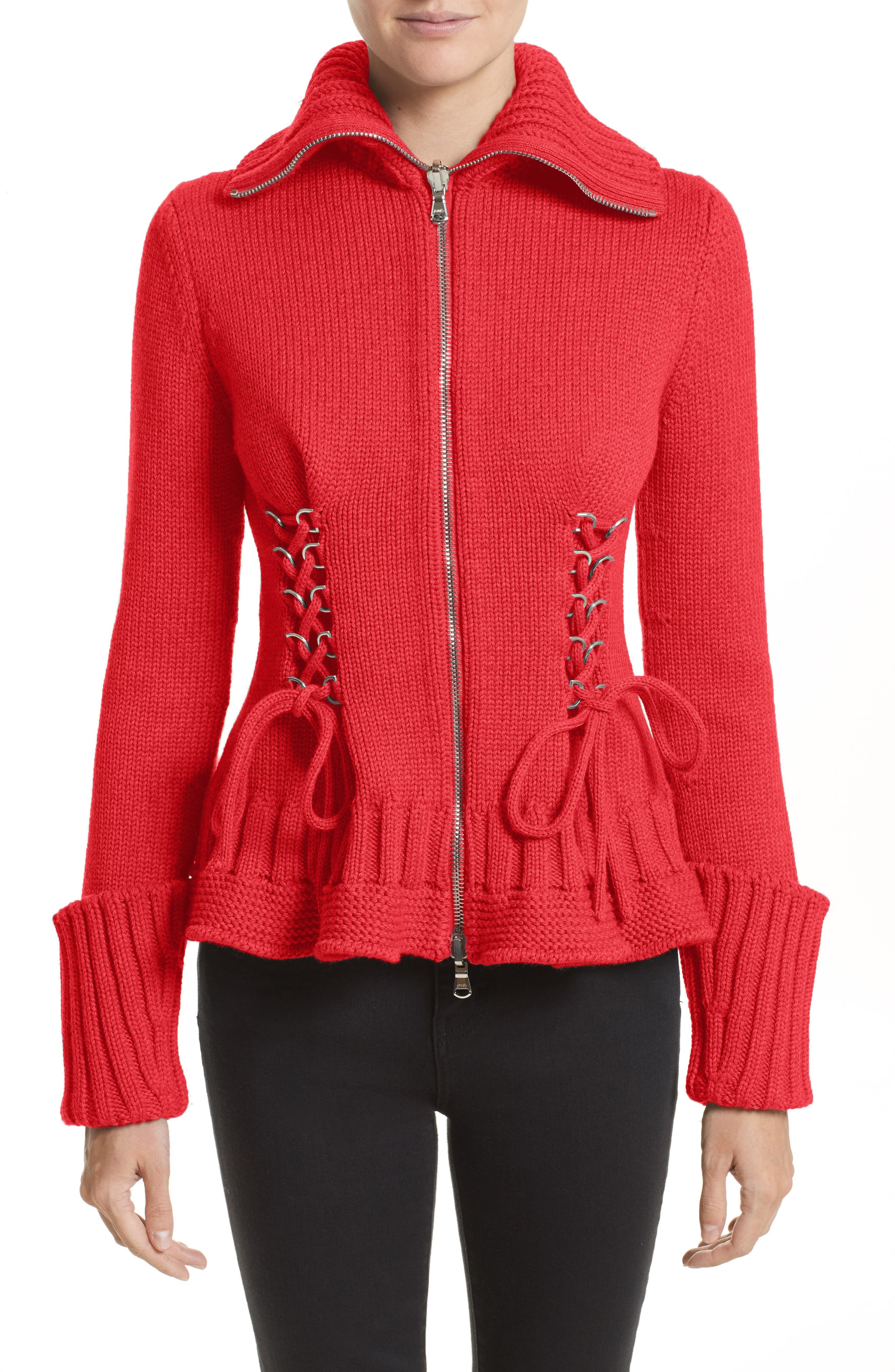 Lace-Up Wool Cardigan,                         Main,                         color, Scarlet Red