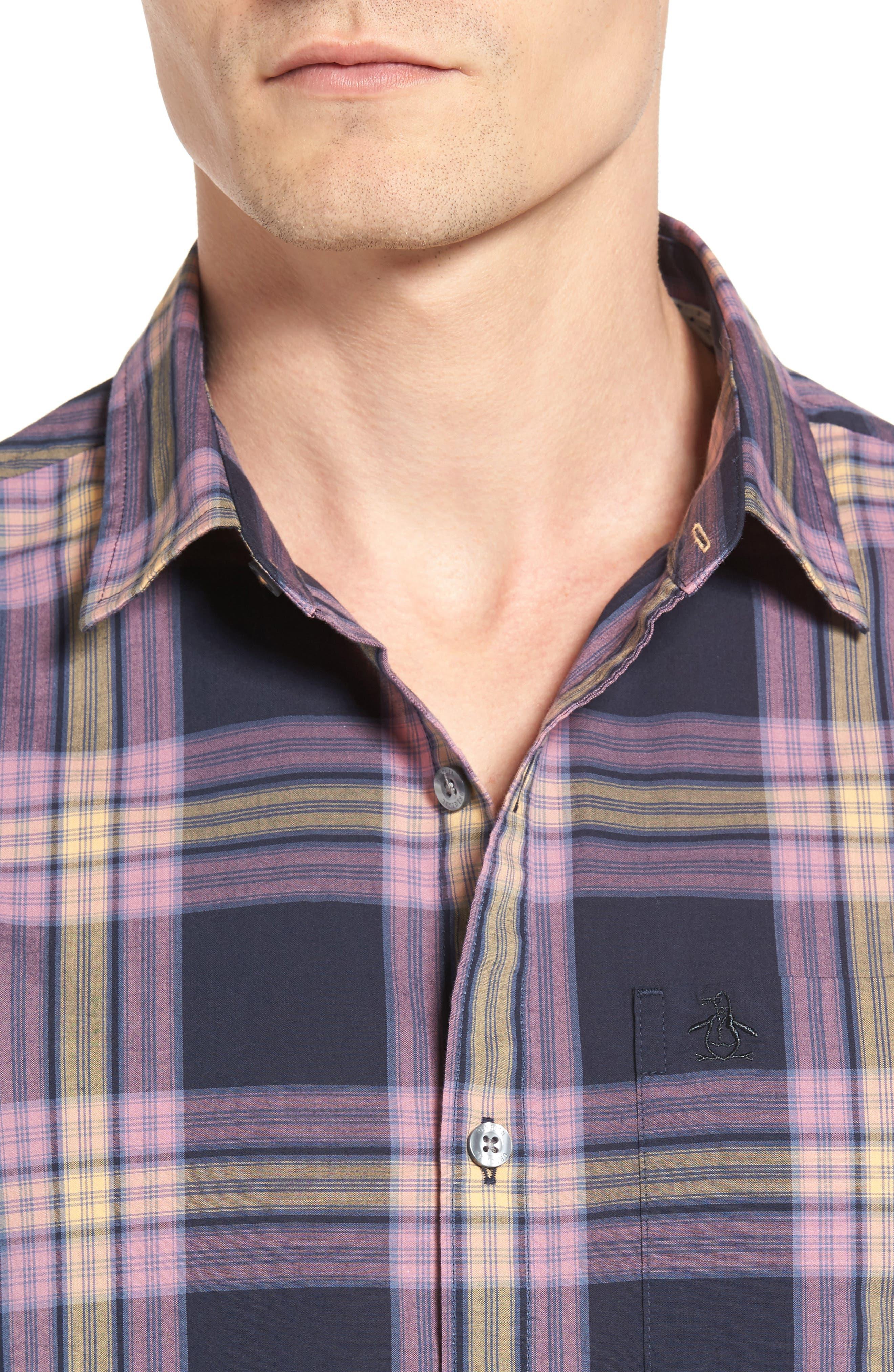 Heritage Slim Fit Plaid Woven Shirt,                             Alternate thumbnail 4, color,                             Dark Sapphire