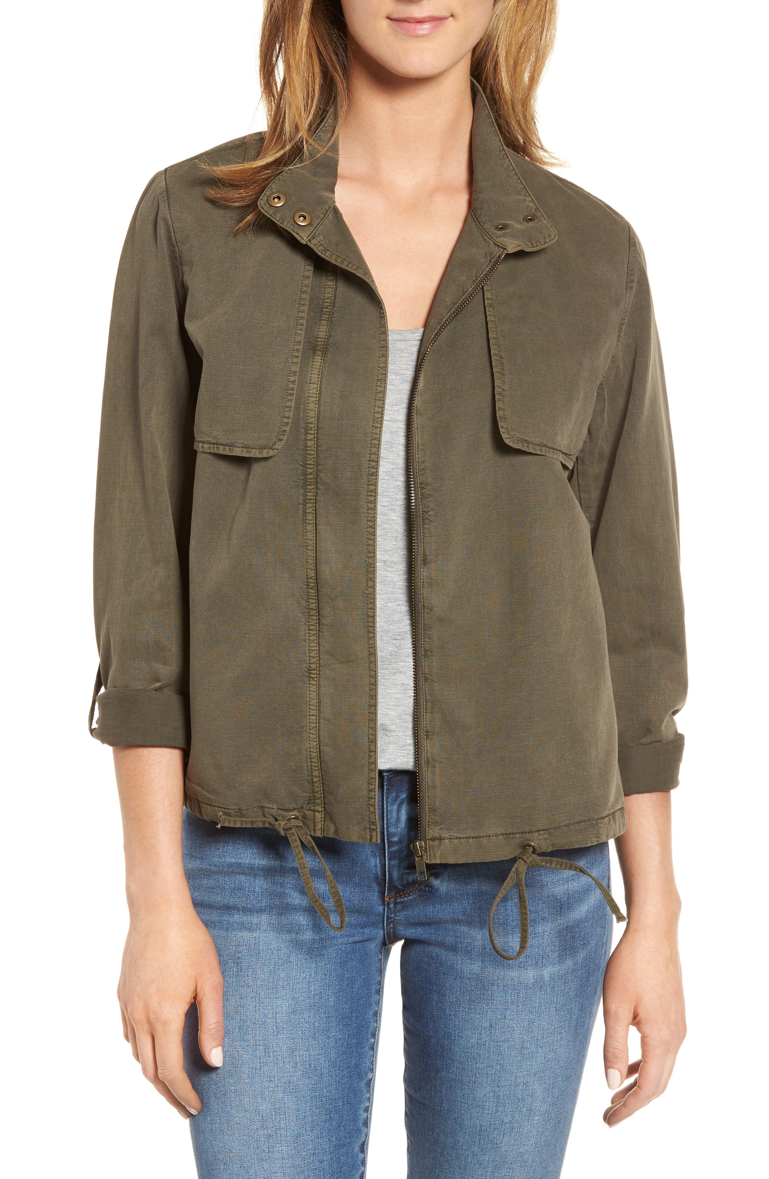 Drawstring Hem Utility Jacket,                             Main thumbnail 1, color,                             Olive Tarmac
