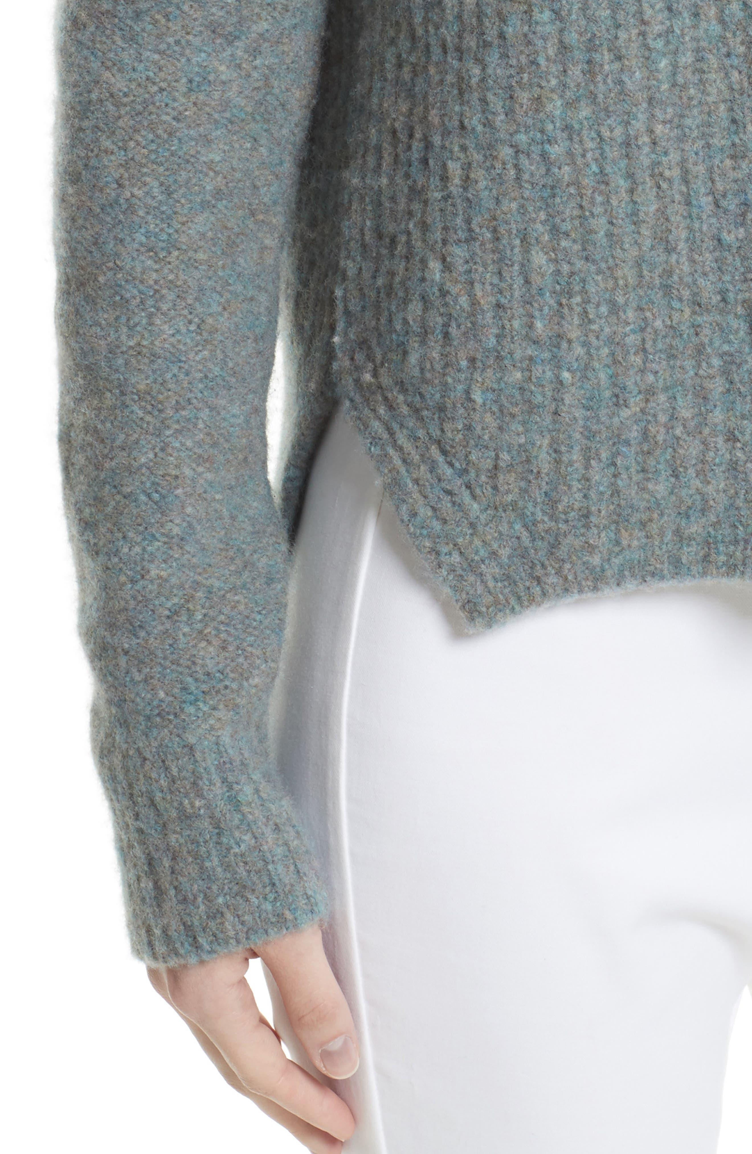 Francie Merino Wool Blend Sweater,                             Alternate thumbnail 4, color,                             Teal