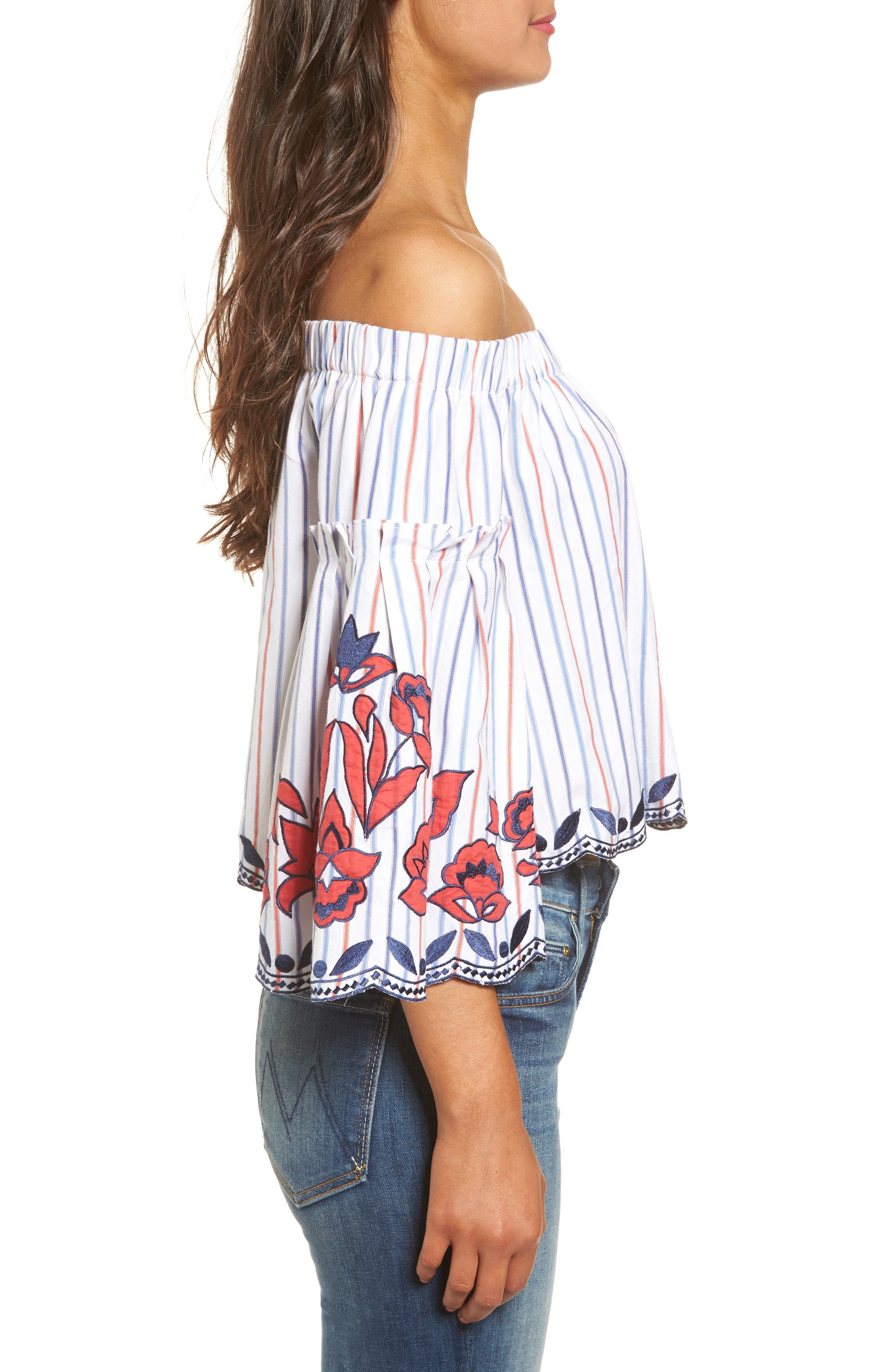 Dane Off the Shoulder Blouse,                             Alternate thumbnail 3, color,                             Pinstripe