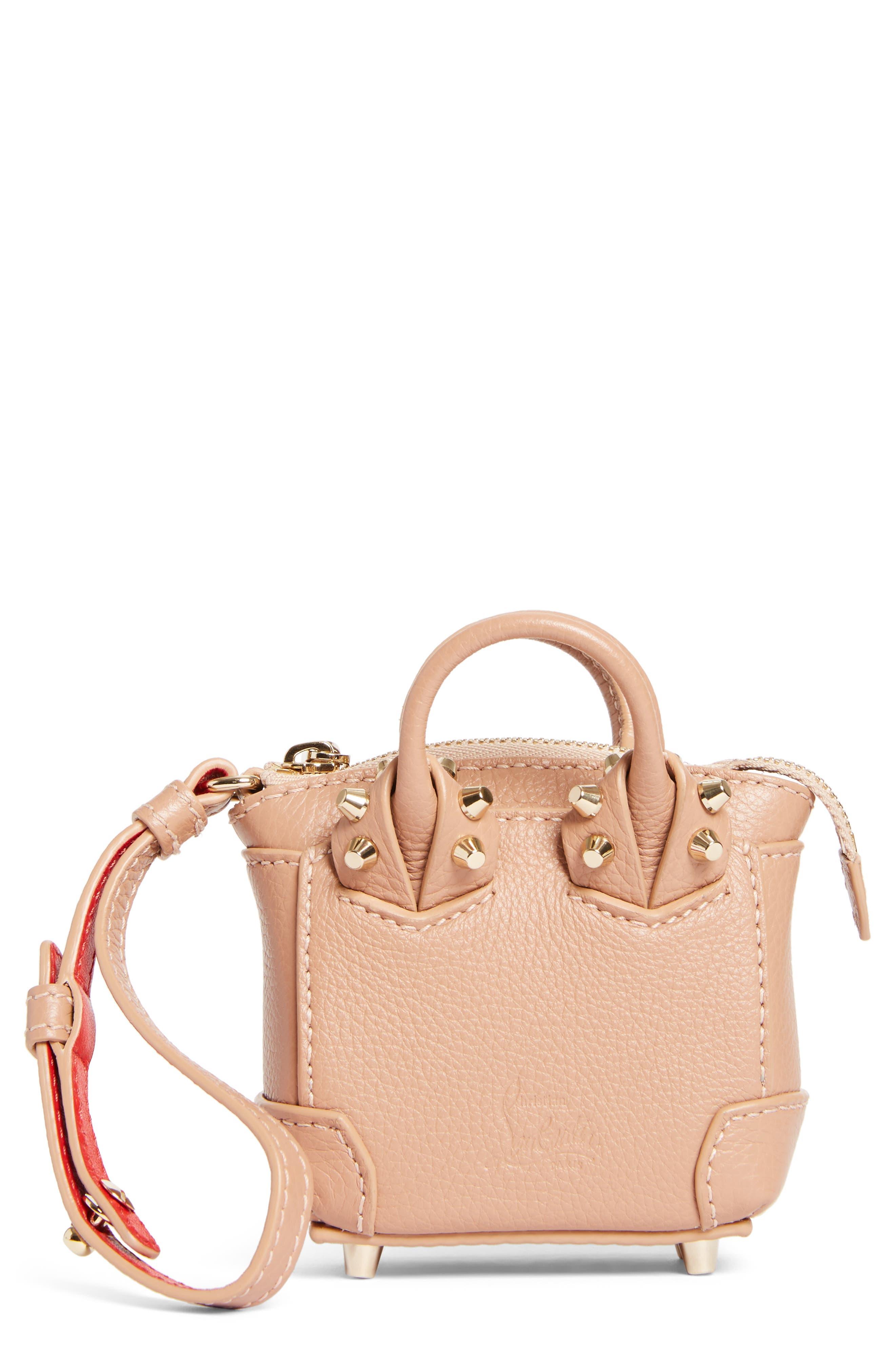 Eloise Mini Leather Bag Charm,                         Main,                         color, Nude/ Gold