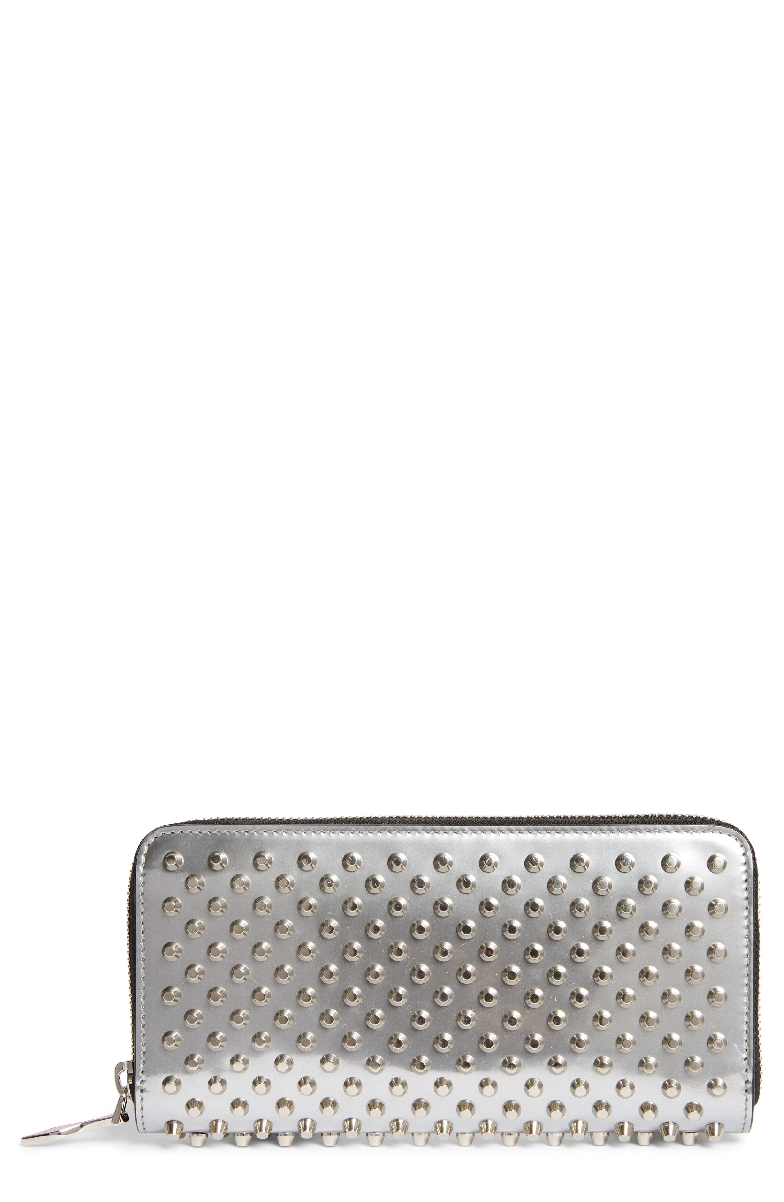 Panettone Spiked Metallic Leather Wallet,                         Main,                         color, Silver/ Silver