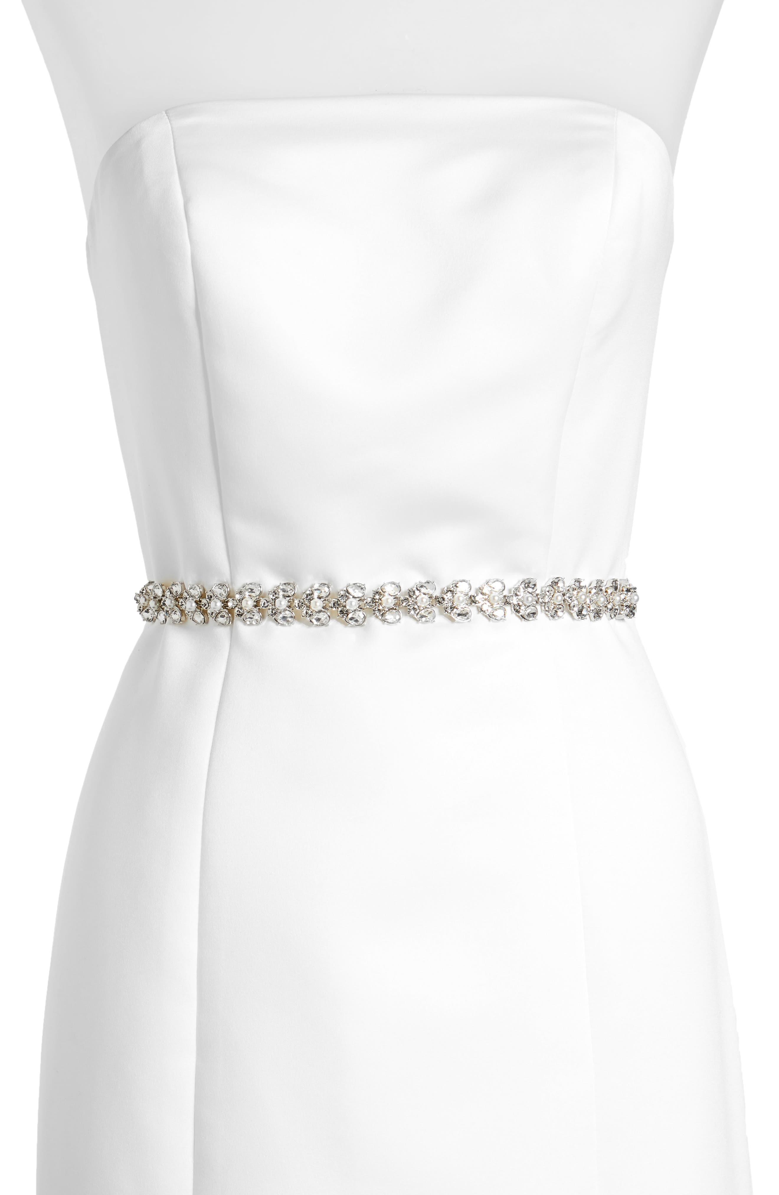 crystal & imitation pearl belt,                         Main,                         color, Cream/ Crystal/ Nickel