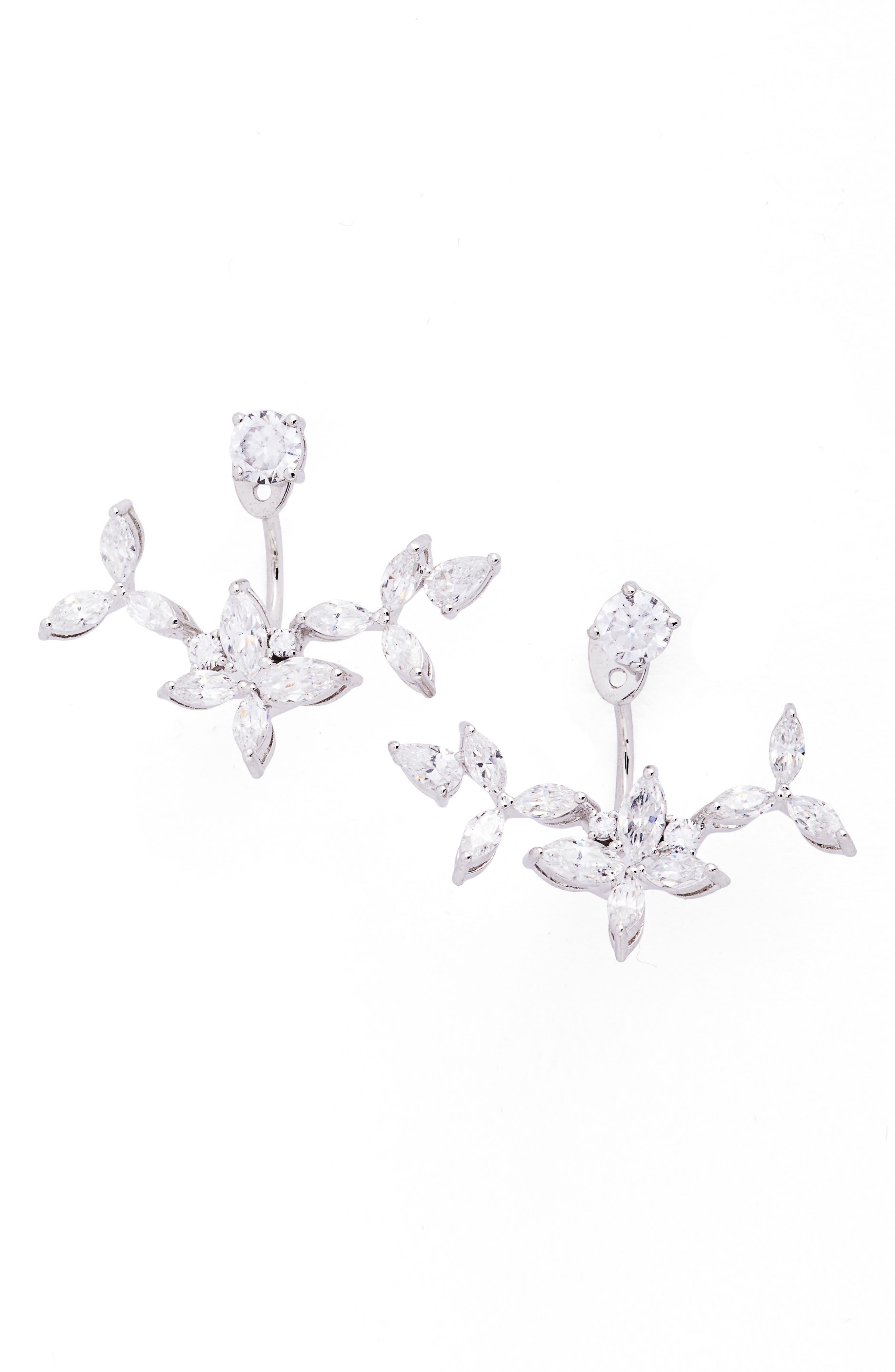 Papillion Ear Jackets,                         Main,                         color, Silver