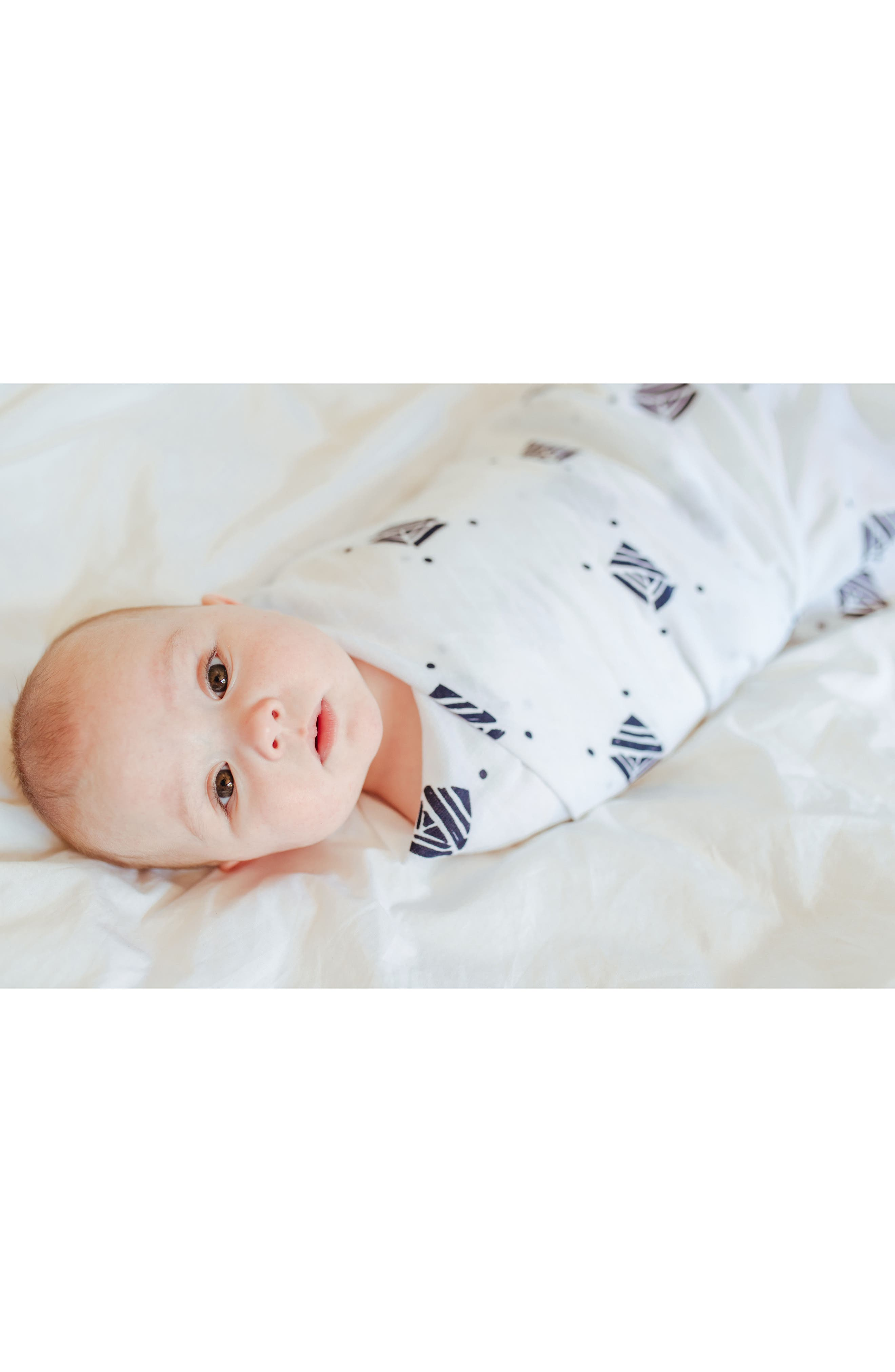 Urban Geometry 2-Pack Organic Cotton Swaddle Blankets,                             Alternate thumbnail 6, color,                             Navy