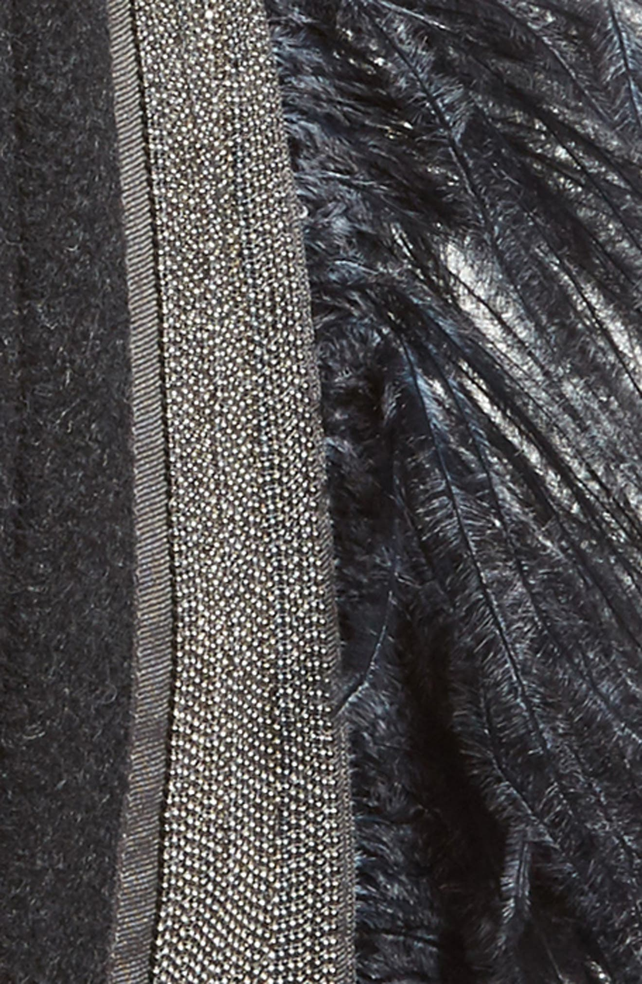 Genuine Ostrich Feather Trim Wool Blend Collar,                             Alternate thumbnail 3, color,                             Navy